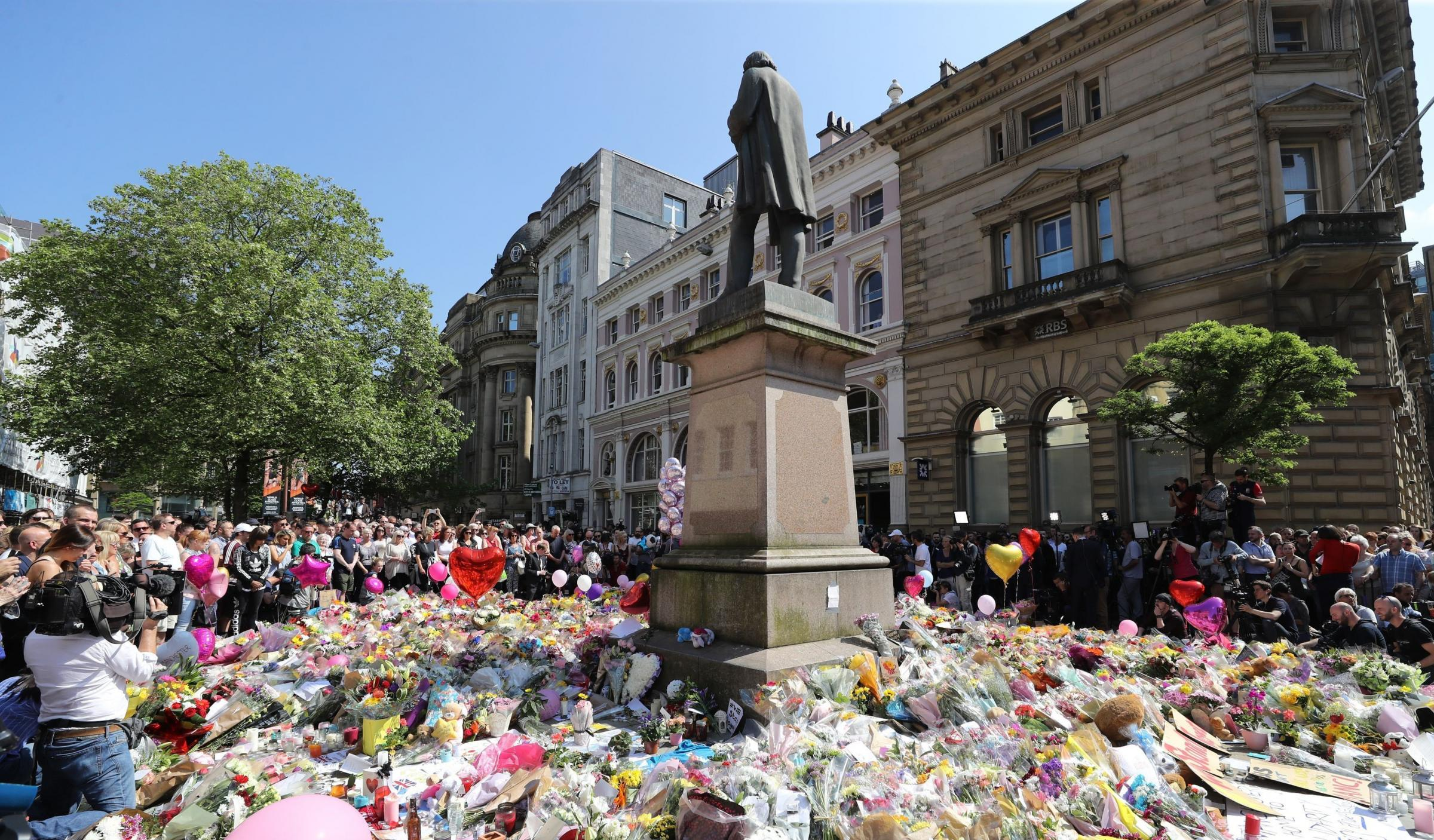 People last year observed a minute's silence in St Ann's Square, Manchester. Photograph: PA