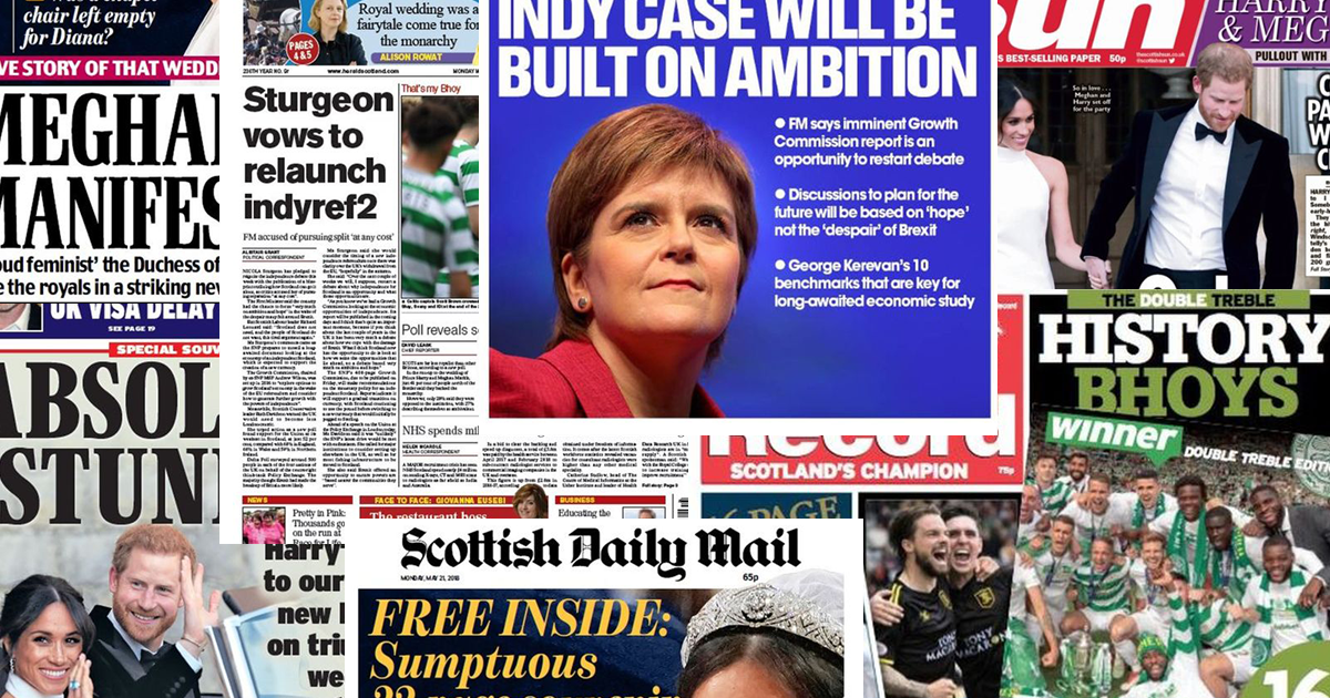 Front pages for Monday 21st May 2018