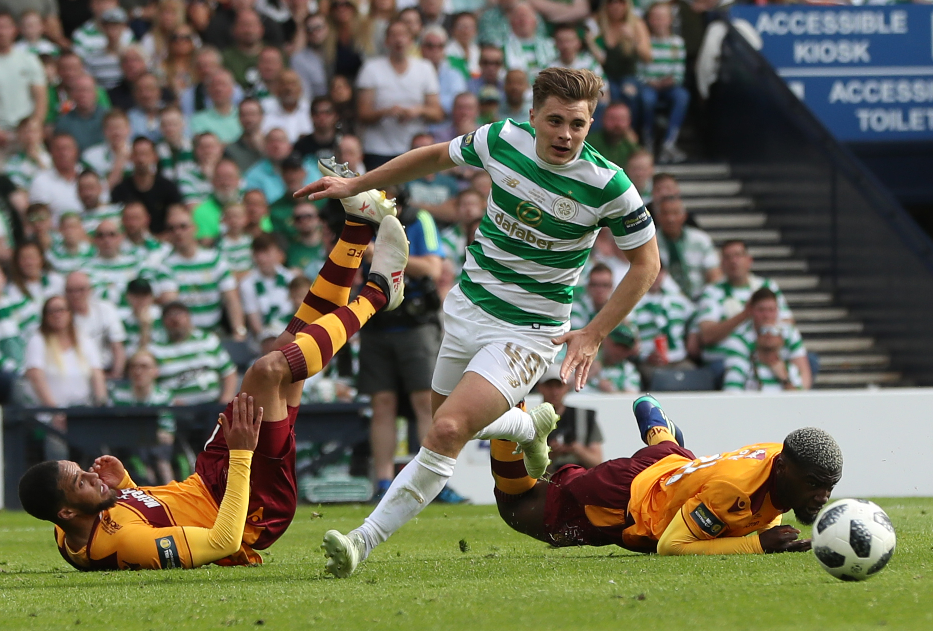 James Forrest controls the ball during the Scottish Cup Final between Celtic and Motherwell at Hampden Park. (Photo by Ian MacNicol/Getty Images).