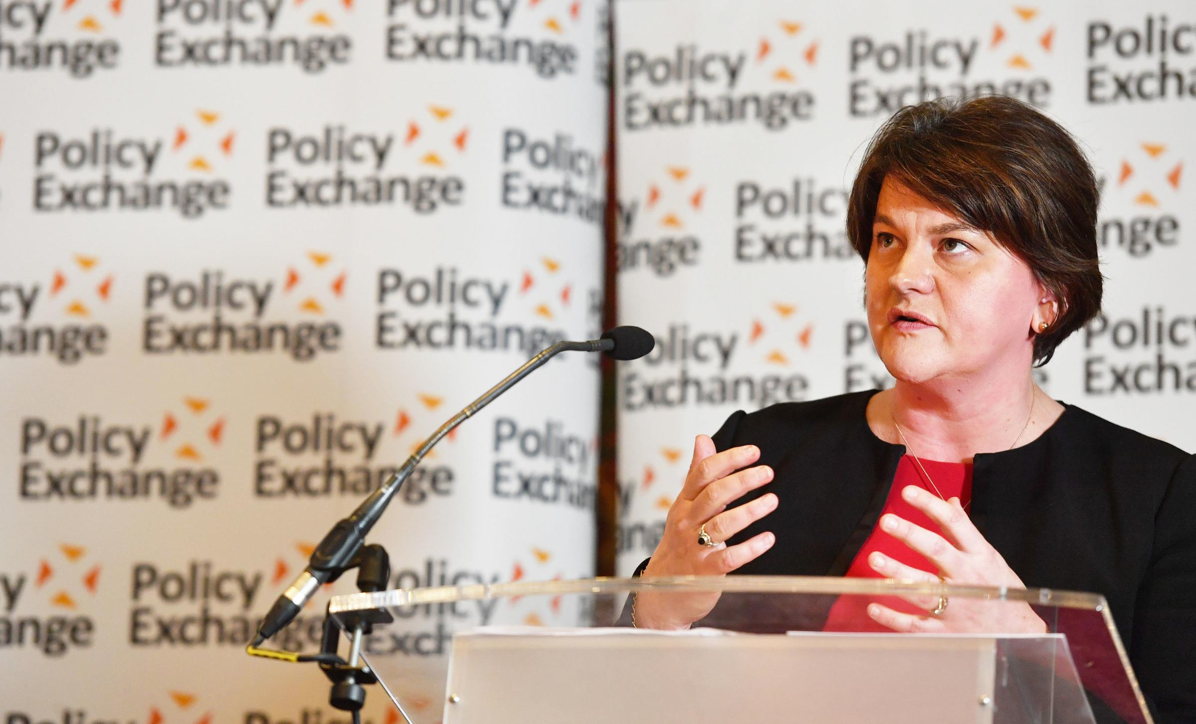 DUP leader Arlene Foster spoke at a Policy Exchange event in London
