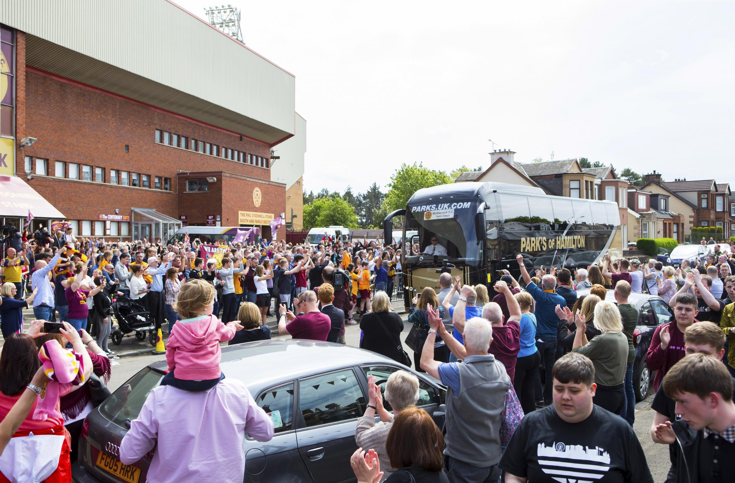18/05/18. FIR PARK - MOTHERWELL. The Motherwell team are waved off by fans as they depart for the Scottish Cup Final..