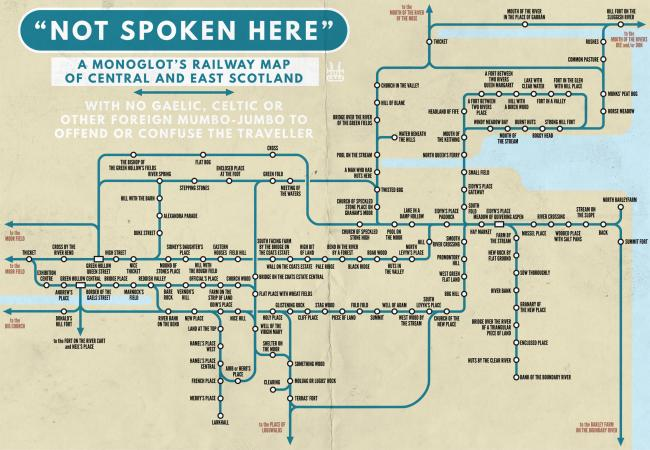 Illustrator creates railway map for non-Gaelic speakers ... on buenos aires map, internet map, word map, world map, print map,