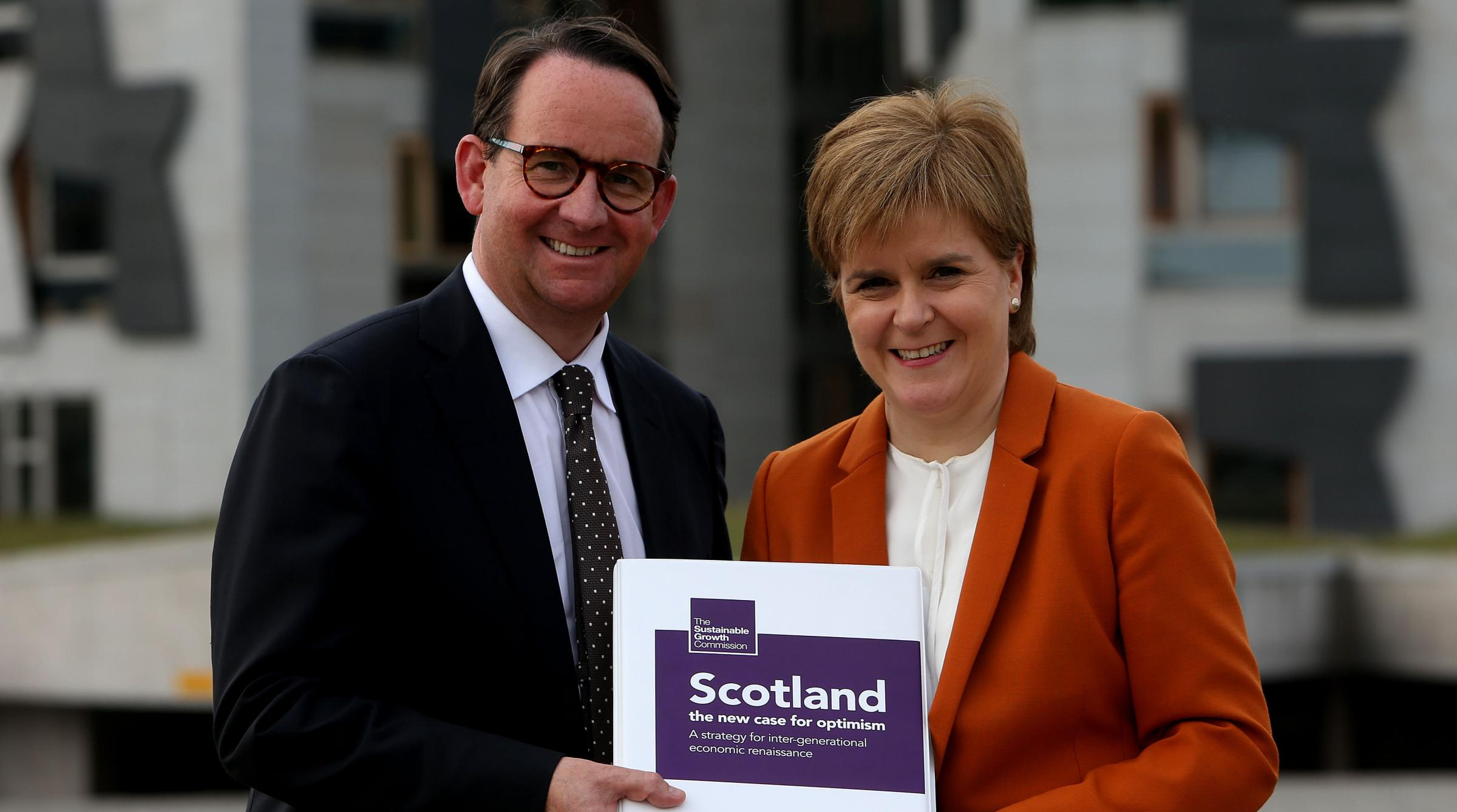Nicola Sturgeon and Andrew Wilson with the Growth Report. Photograph: Gordon Terris