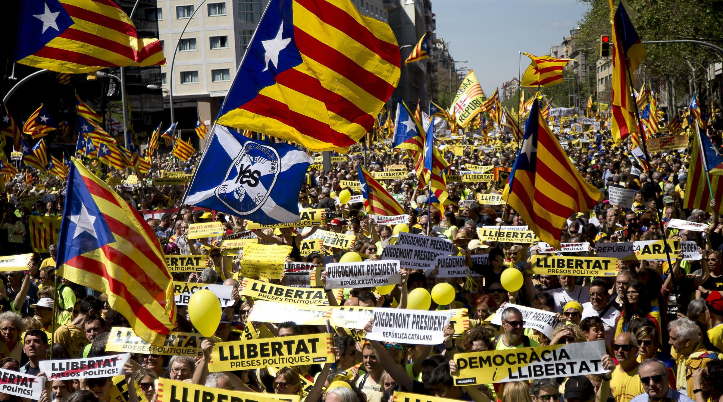 Some of those who oppose Catalan independence do not have the slightest problem with an independent Scotland. Photograph: Getty