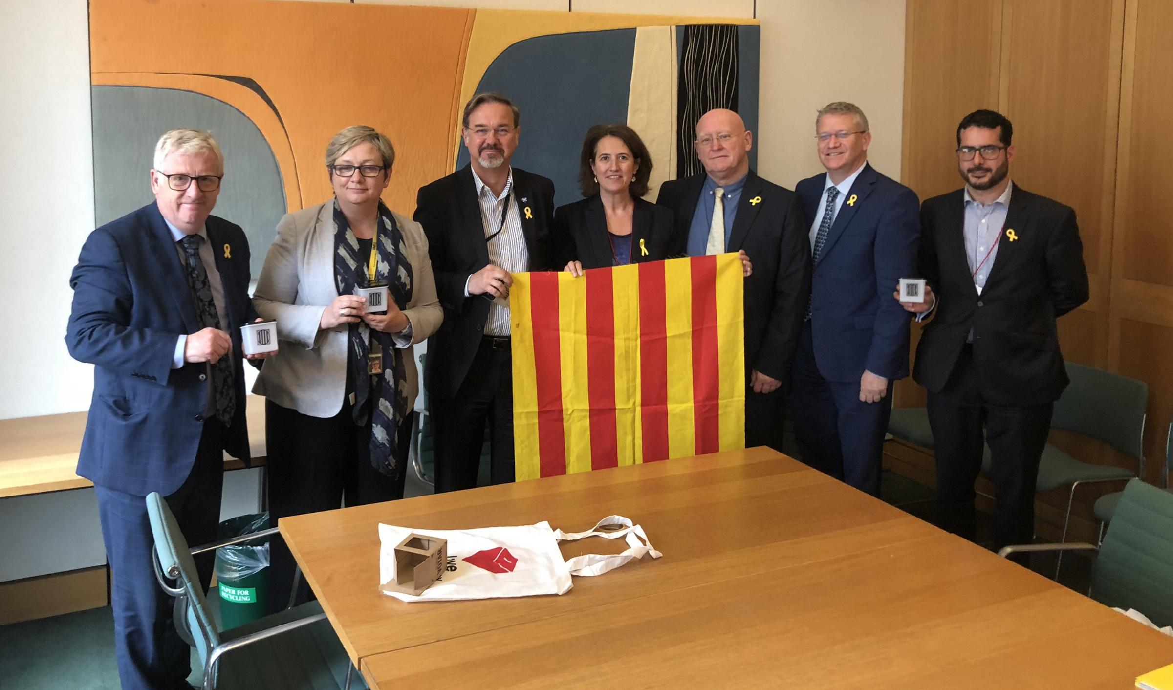 Elisenda Paluzie, centre, with members of Westminster's All Party Parliamentary Group on Catalonia