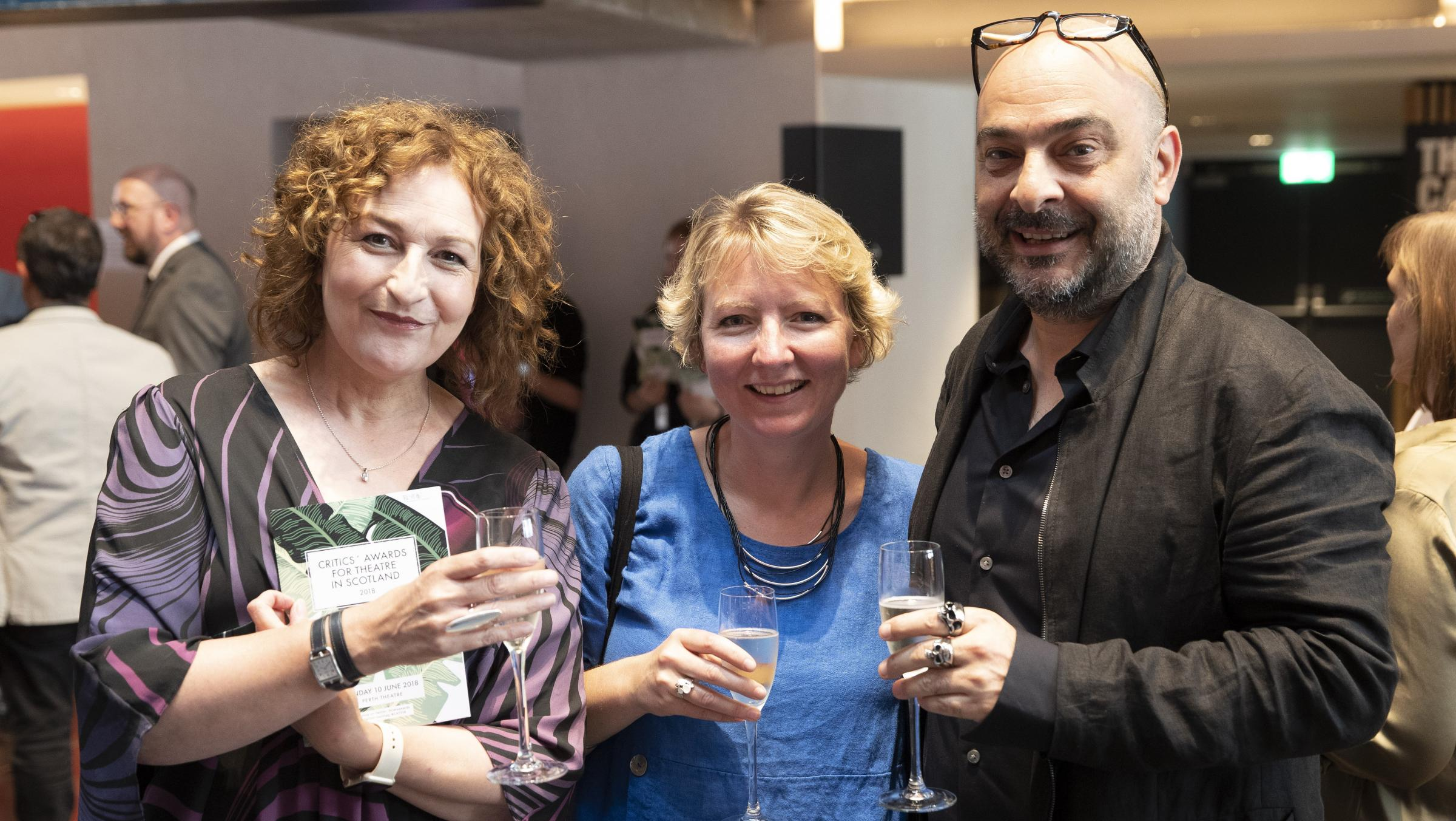 Blythe Duff, left, with Zinnie Harris, who created a new version of Rhinoceros, and director Murat Daltaban. Photograph: Perthshire Picture Agency