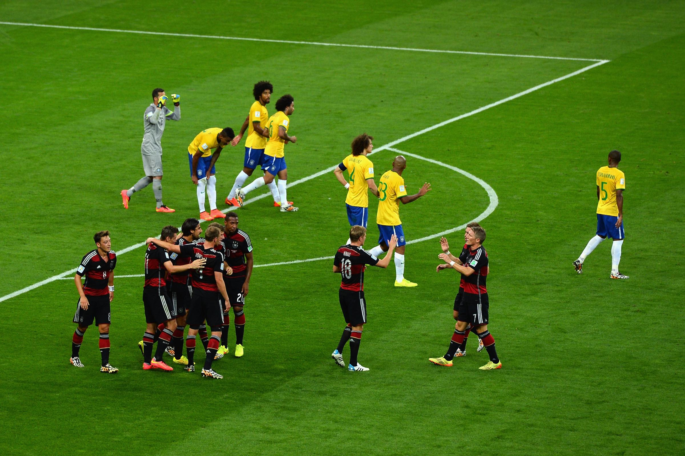 during the 2014 FIFA World Cup Brazil Semi Final match between Brazil and Germany at Estadio Mineirao on July 8, 2014 in Belo Horizonte, Brazil.