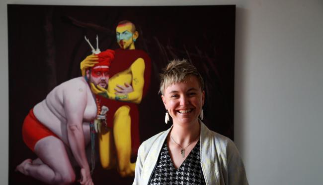 Scottish artist Kirsty Whiten with a piece from here solo exhibition ICON ORACLE. Photograph: Stewart Attwood