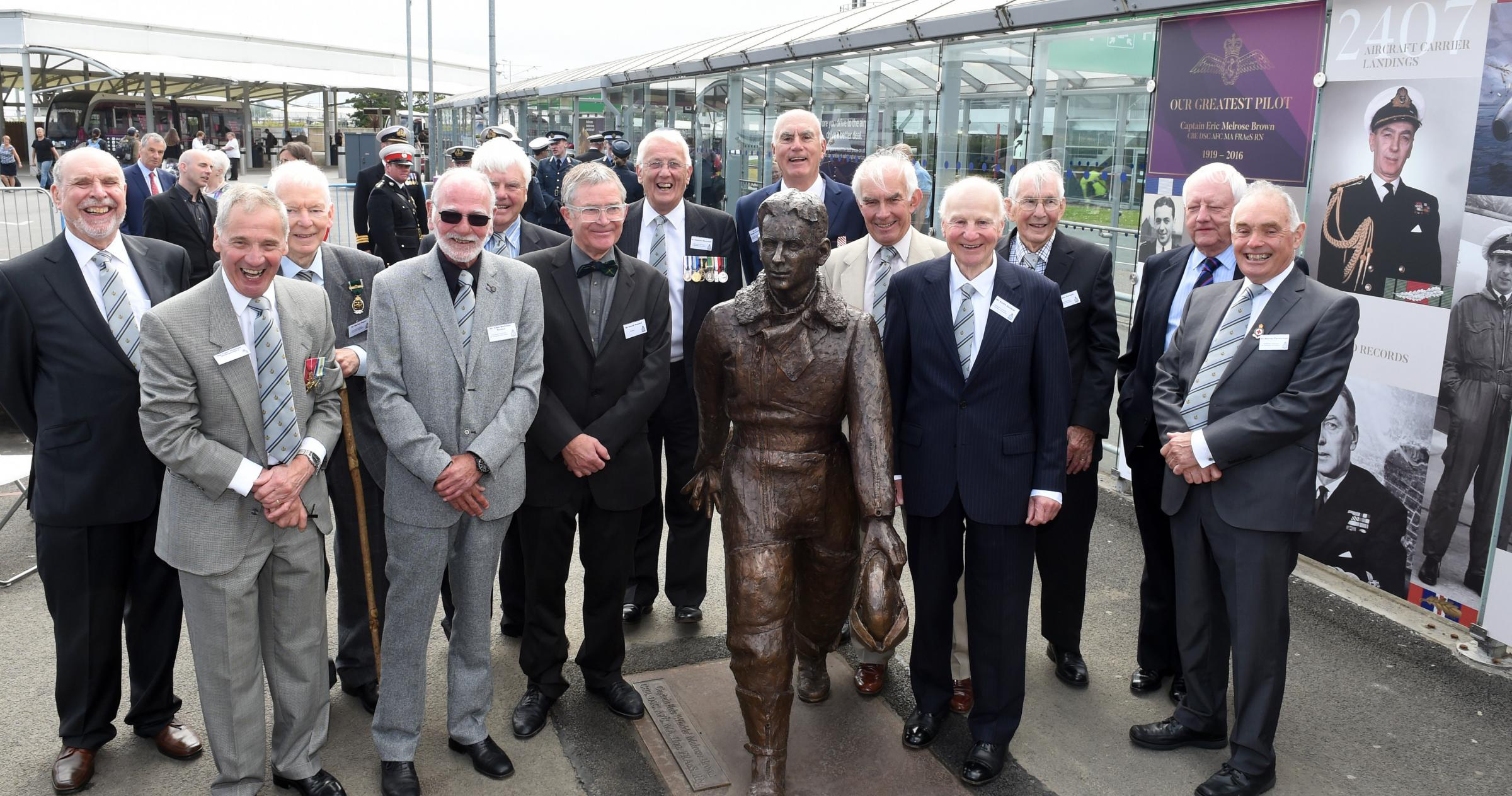The Captain Eric 'Winkle' Brown statue was unveiled at the airport yesterday