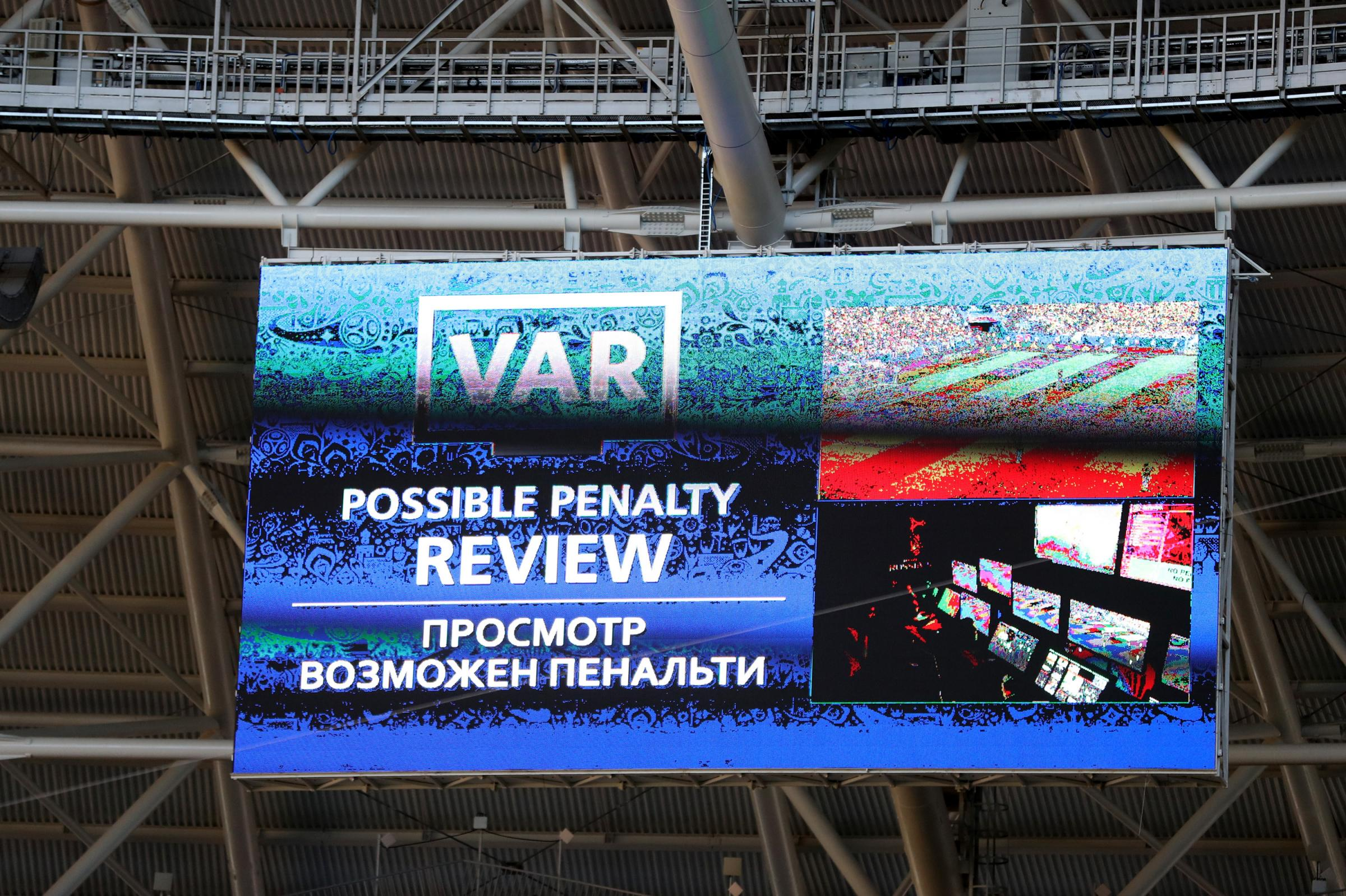 The big screen inside the Samara Arena informs fans a VAR review is under consideration during a Russia 2018 group match between Colombia and Senegal last month.