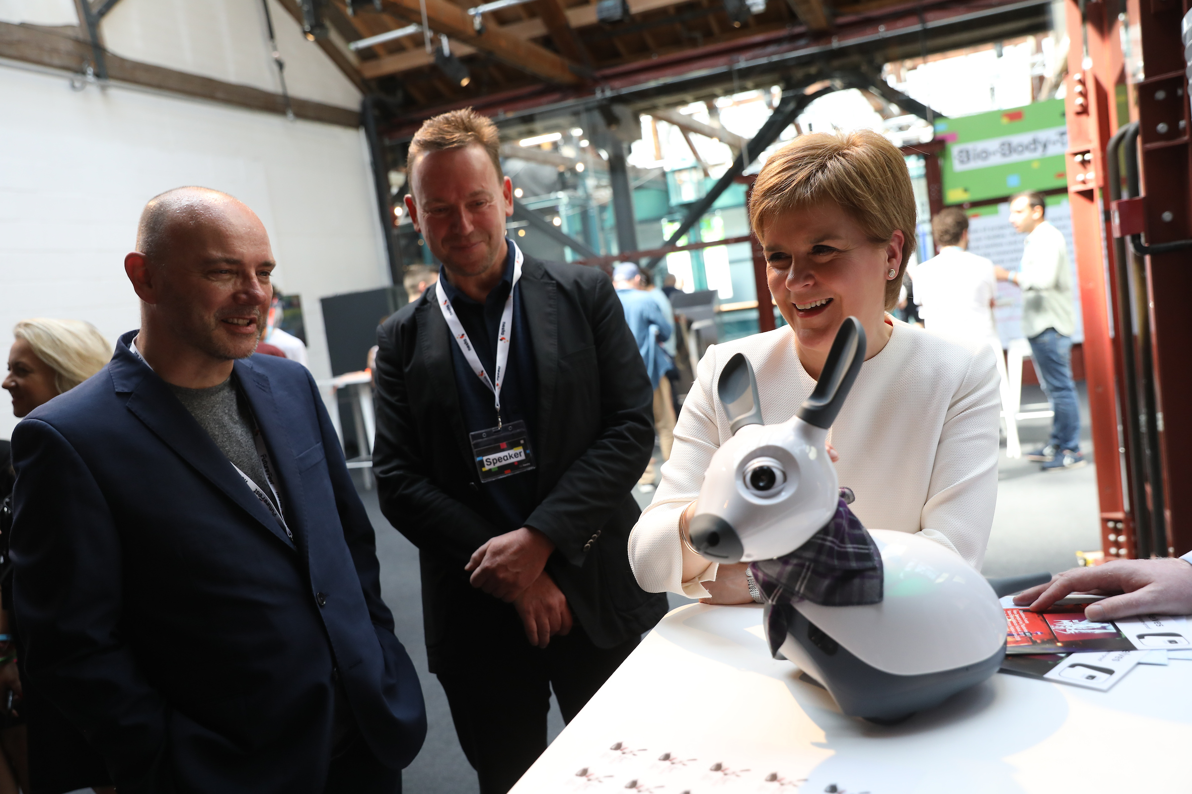 Pat Kane, left, and First Minister Nicola Sturgeon at FutureFest. Photograph: Chris Ratcliffe