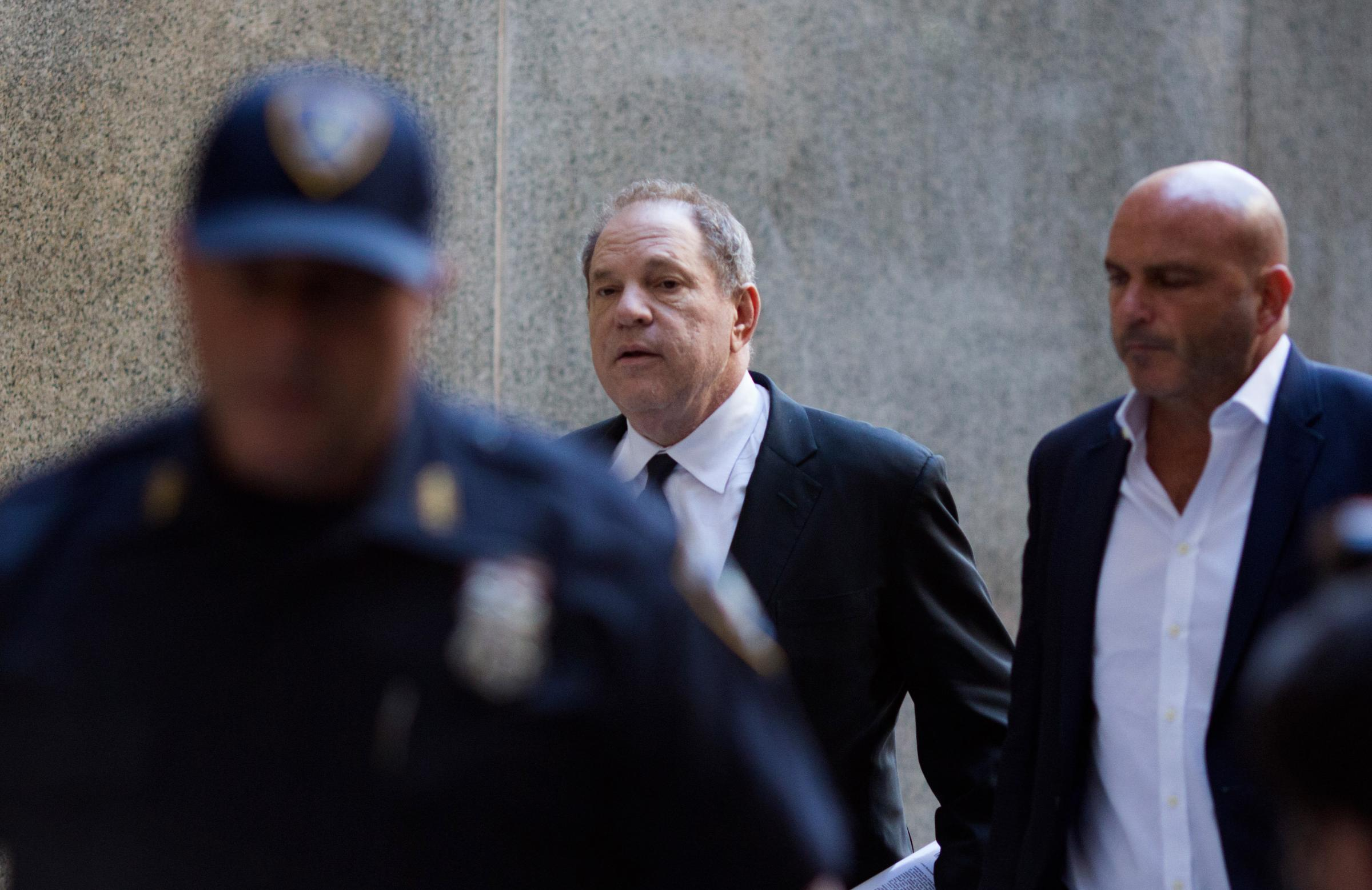 Harvey Weinstein arrives for a court appearance at Manhattan Criminal Court in New York City