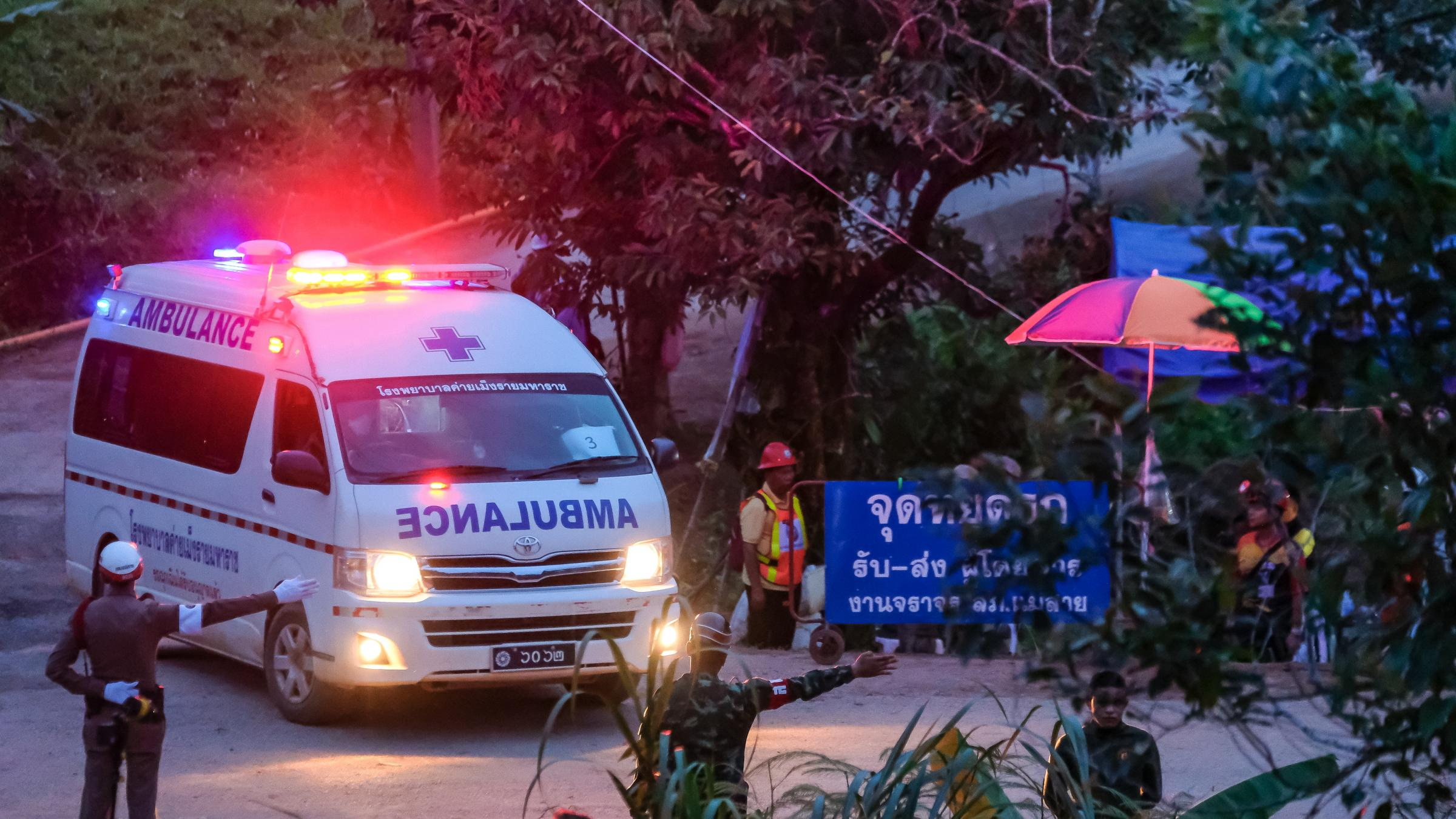 Ambulances carried away the sixth and seventh boys freed from the Tham Luang Nang Non cave. Photograph: Getty