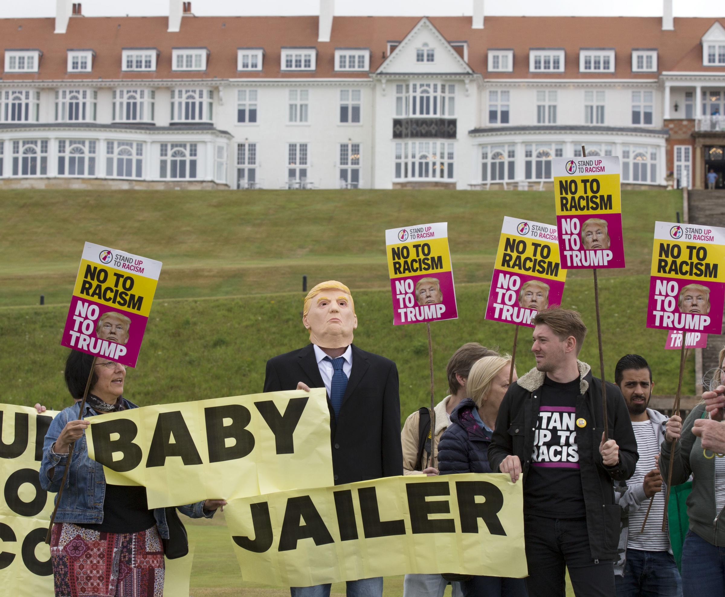 Stand Up to Racism activists at Turnberry, where Trump is thought to be spending most of his weekend