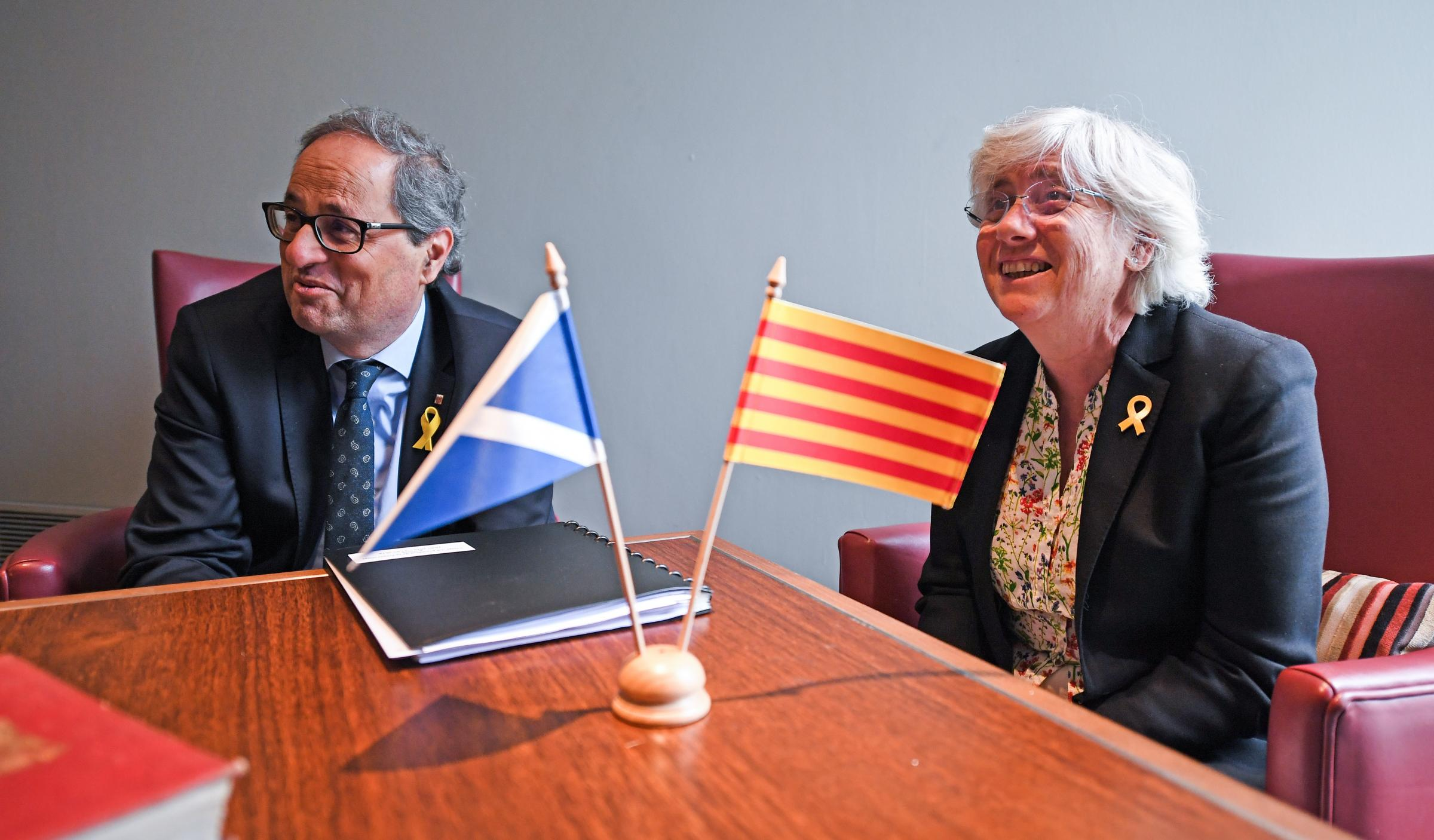 President of Catalonia Quim Torra and former Catalan minister Clara Ponsati attended a press conference ahead of a meeting with Scotland's First Minister Nicola Sturgeon. Photograph: Getty