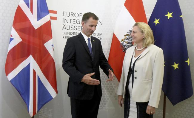 Jeremy Hunt with his Austrian counterpart Karin Kneissl. Photograph: AP