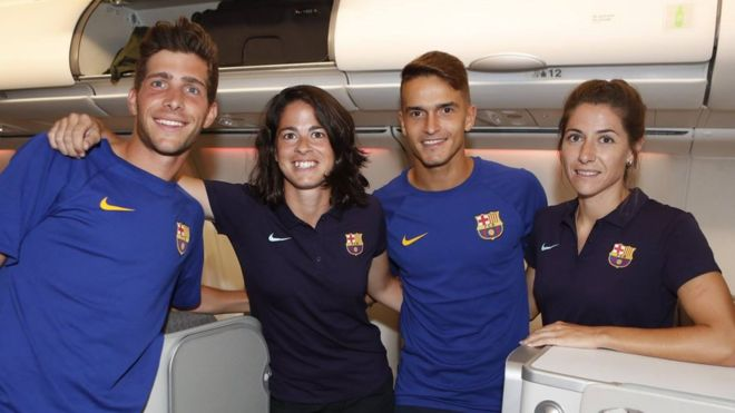 Barcelona's women's team flew economy while their male counterparts enjoyed first class
