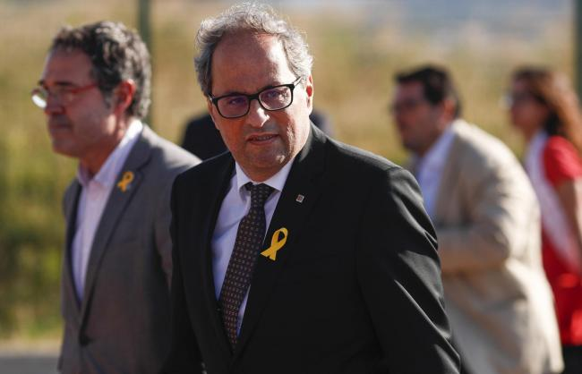 Quim Torra spoke at a protest supporting one of the detainees, Jordi Turull