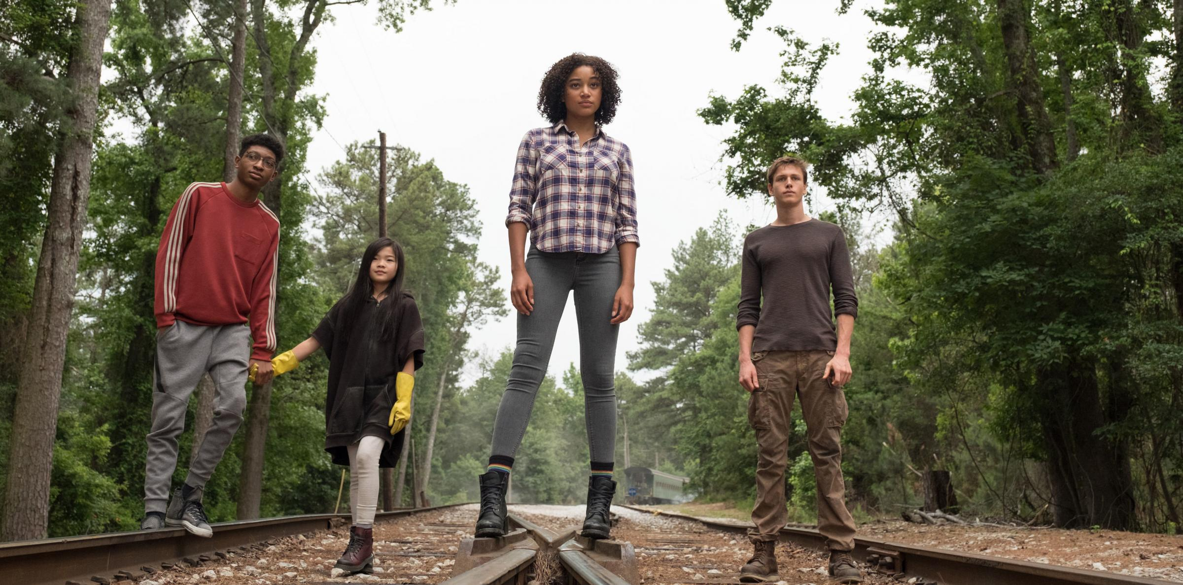 Skylan Brooks, Miya Cech, Amandla Stenberg and Harris Dickinson band together on a quest for survival. Photograph: PA