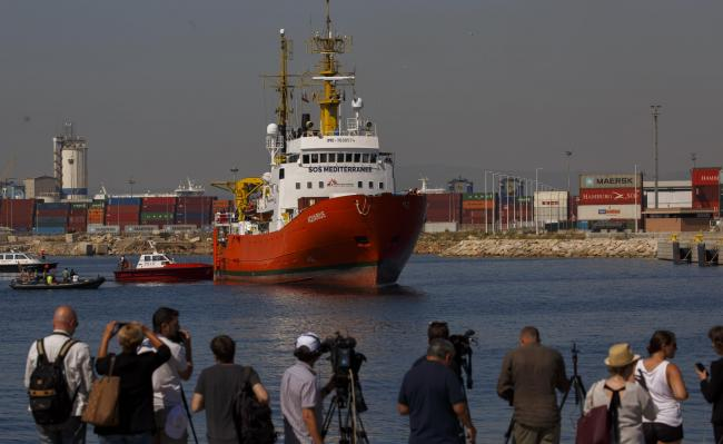 The Aquarius rescue vessel arrived at the Port of Valencia. Photograph: Getty