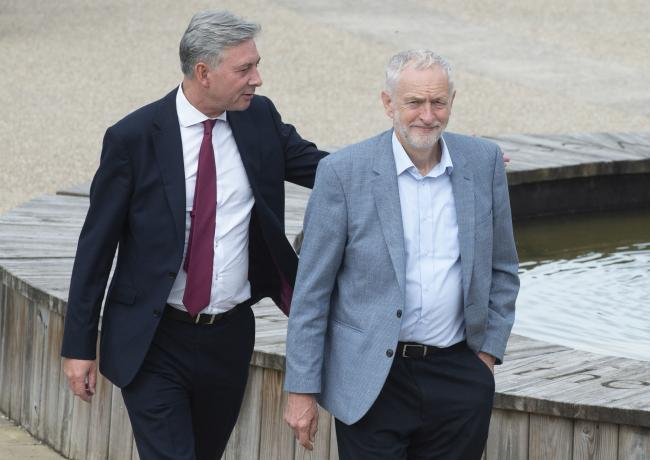 Jeremy Corbyn, right, will be joined by Scottish Labour leader Richard Leonard. Photograph: PA
