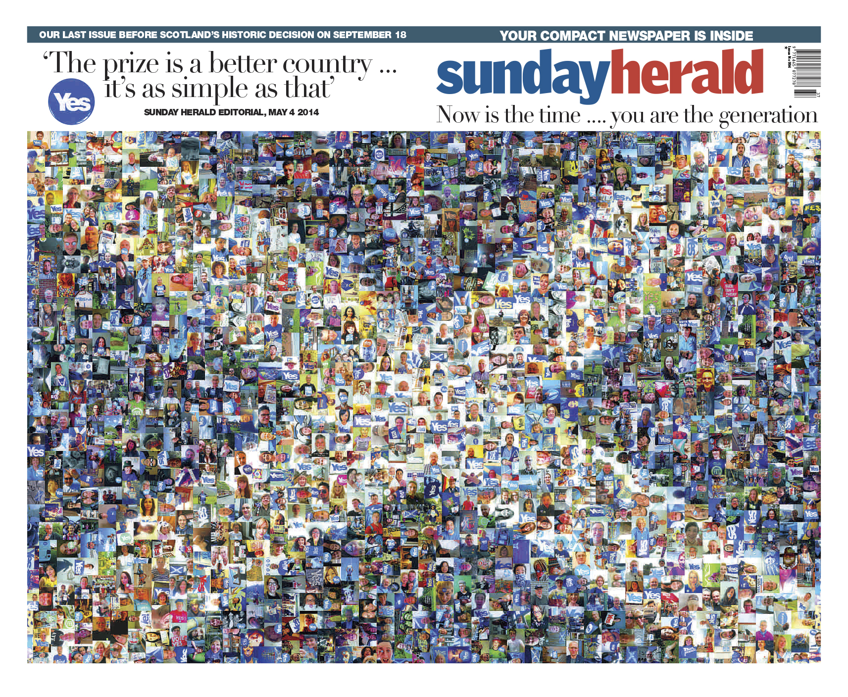 The Sunday Herald's cover the weekend before the 2014 independence referendum