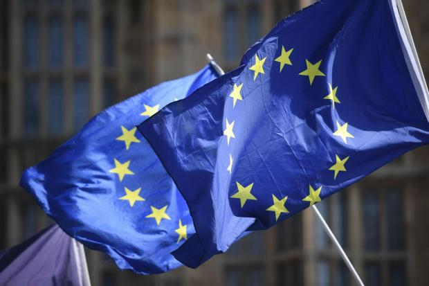 The National: European Union flags outside the Houses of Parliament