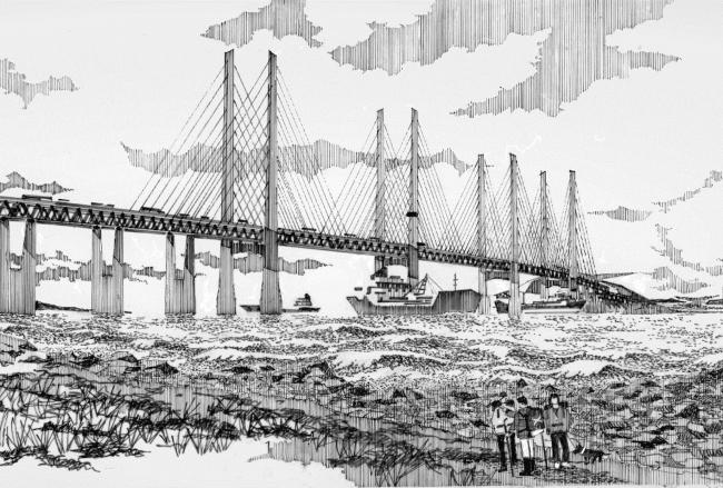 The pencilled impression of the bridge was revealed this week