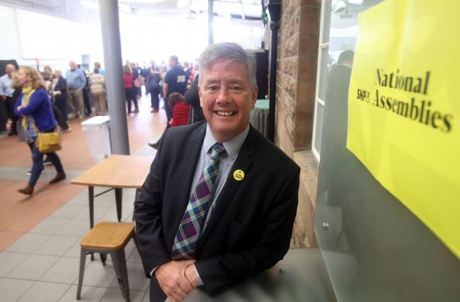 SNP deputy leader Keith Brown chaired the National Assembly at Edinburgh's Corn Exchange Photograph: Gordon Terris