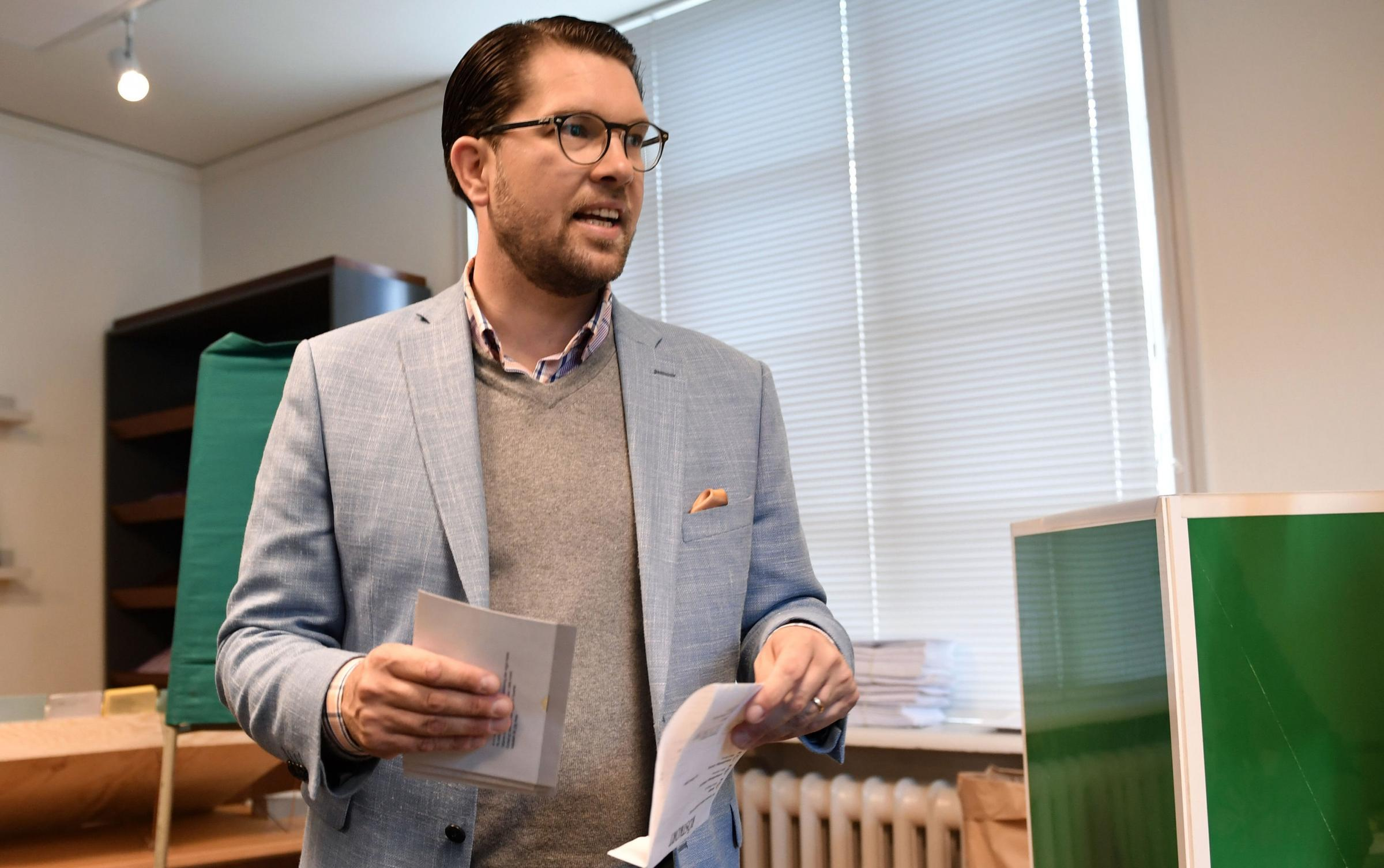 Jimmie Akesson, leader of the right-wing nationalist Sweden Democrats party