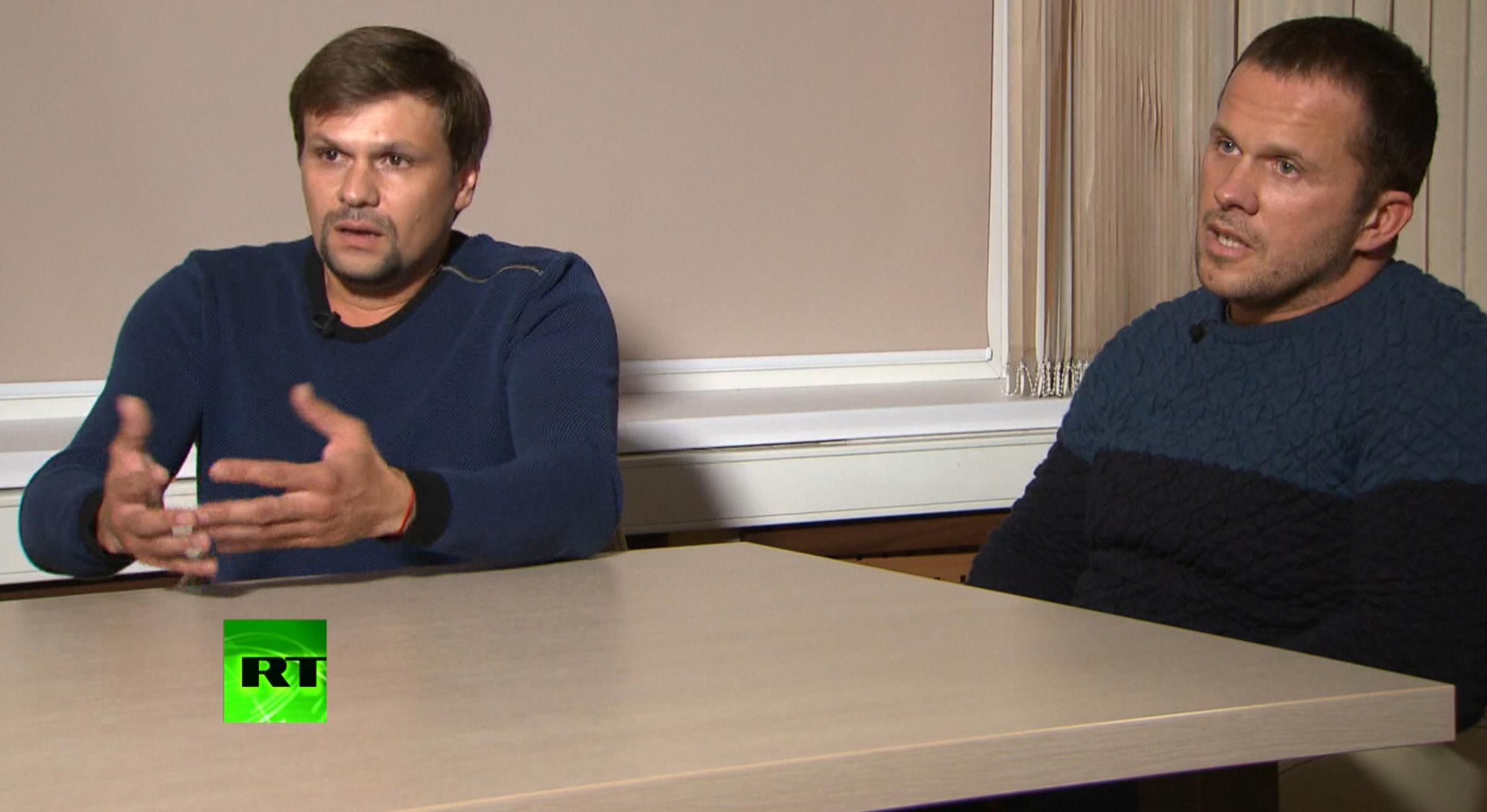 Ruslan Boshirov, left, and Alexander Petrov said they have been left fearing for their lives