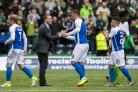 19/08/17 LADBROKES PREMIERSHIP. KILMARNOCK v CELTIC (0-2). RUGBY PARK - KILMARNOCK. Celtic manager Brendan Rodgers (2nd from left) with Kris Boyd at full-time.