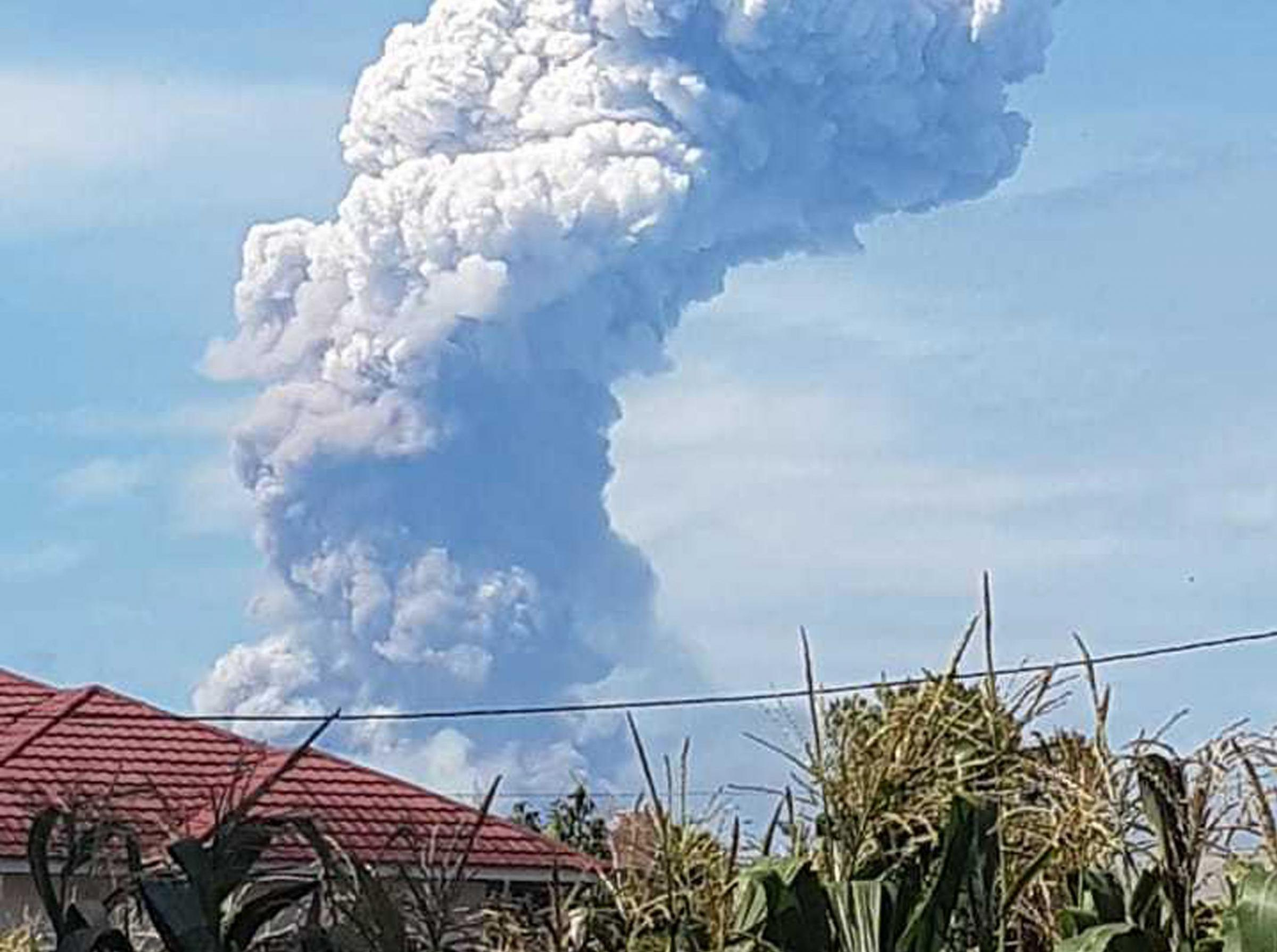 The volcanic ash shot almost 20,000 ft into the air following the eruption
