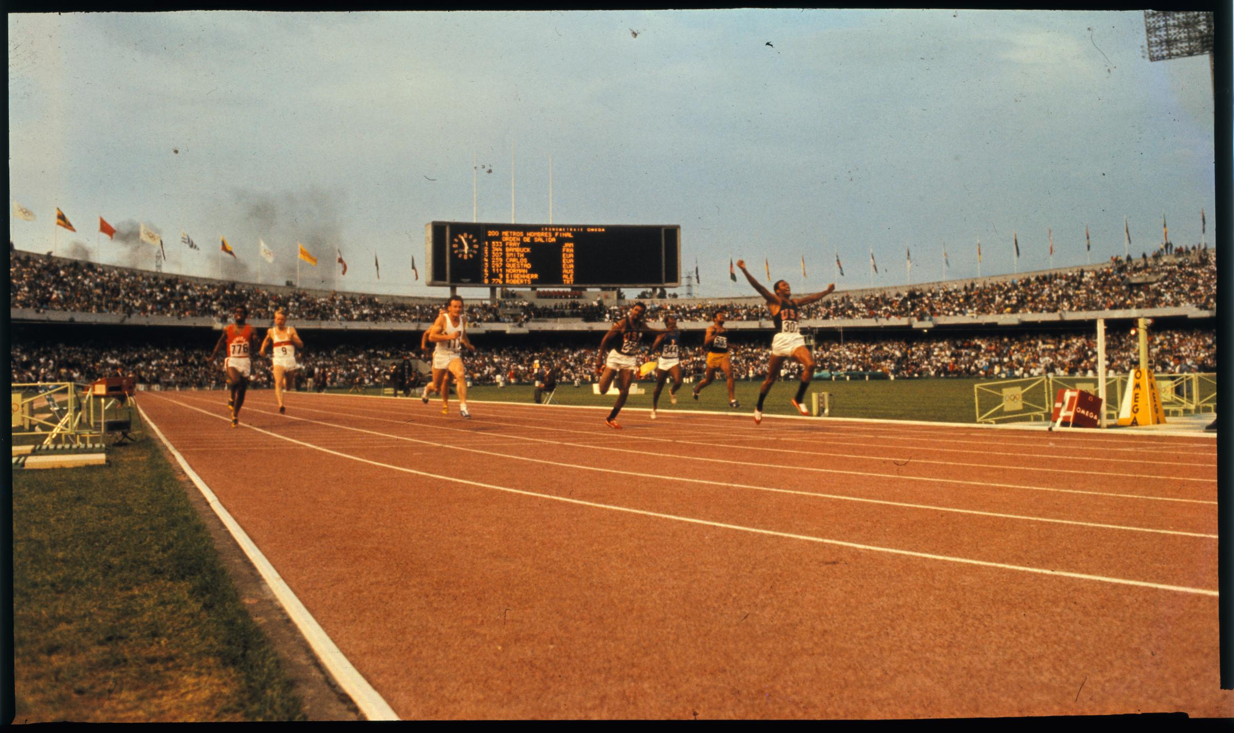 Tommie Smith wins the men's 200m final at the Mexico Olympics 1968