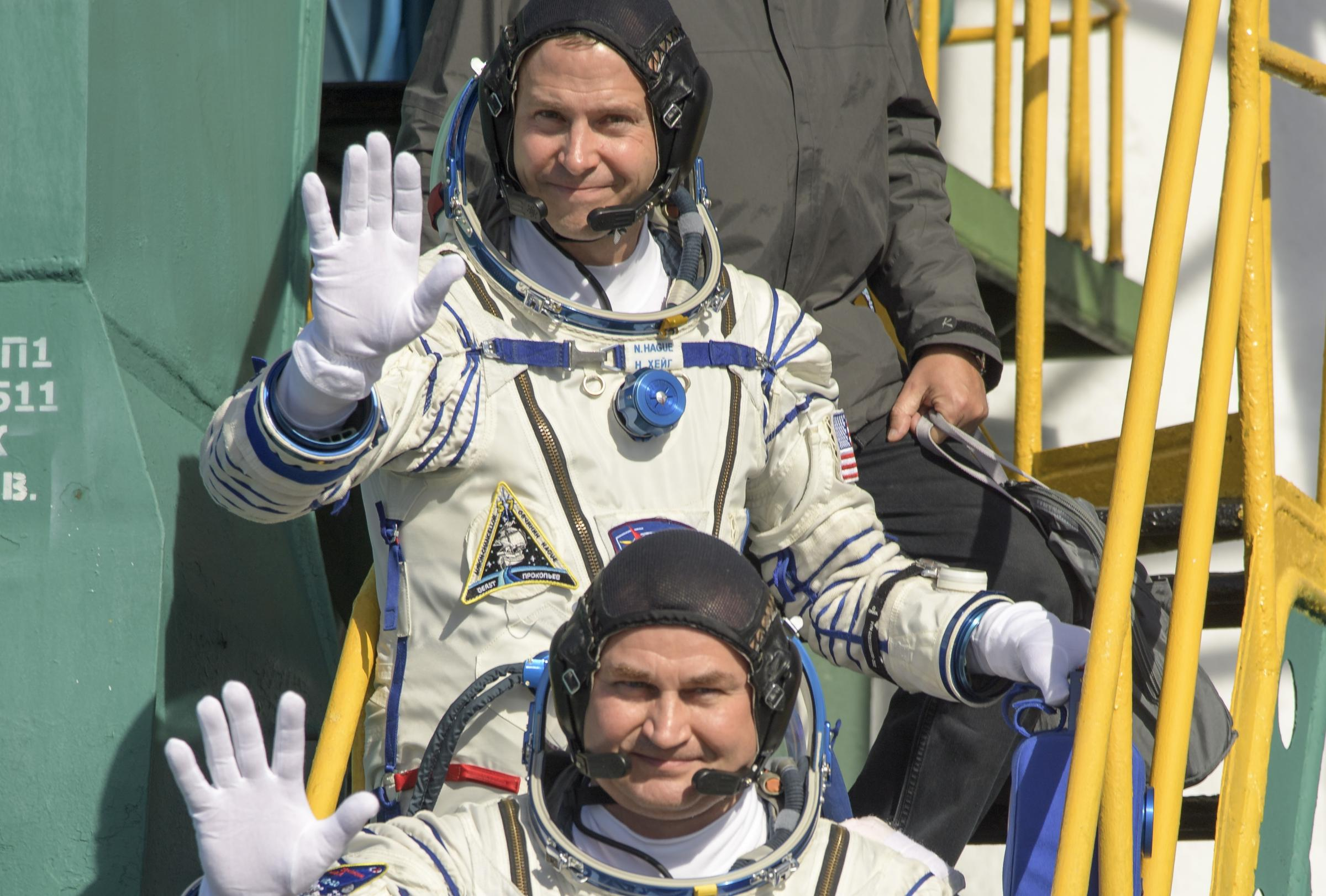 Nick Hague, top, and Alexey Ovchinin's capsule jettisoned from the rocket. Photograph: Getty