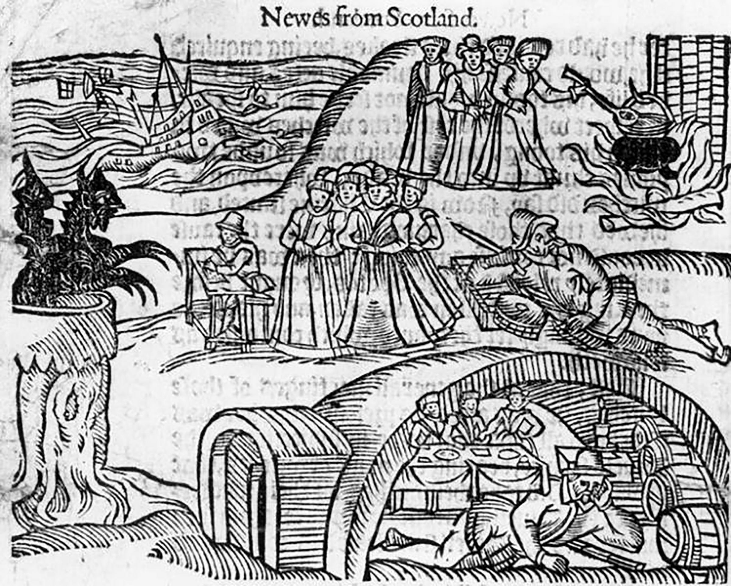 Illustration depicting the trial of Scottish witches