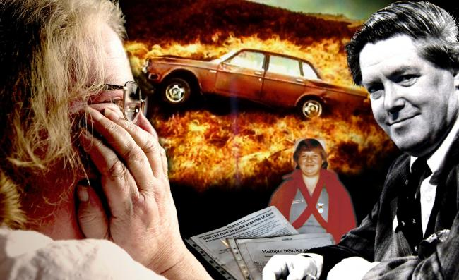 Katherine McGonigal today, and (smaller picture) as a nurse in the 1980s, with some of the articles she has had published. Also pictured are Willie McRae and the car in which he was found