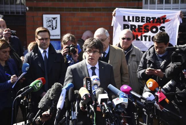Former Catalan president Carles Puigdemont, who is exiled in Belgium