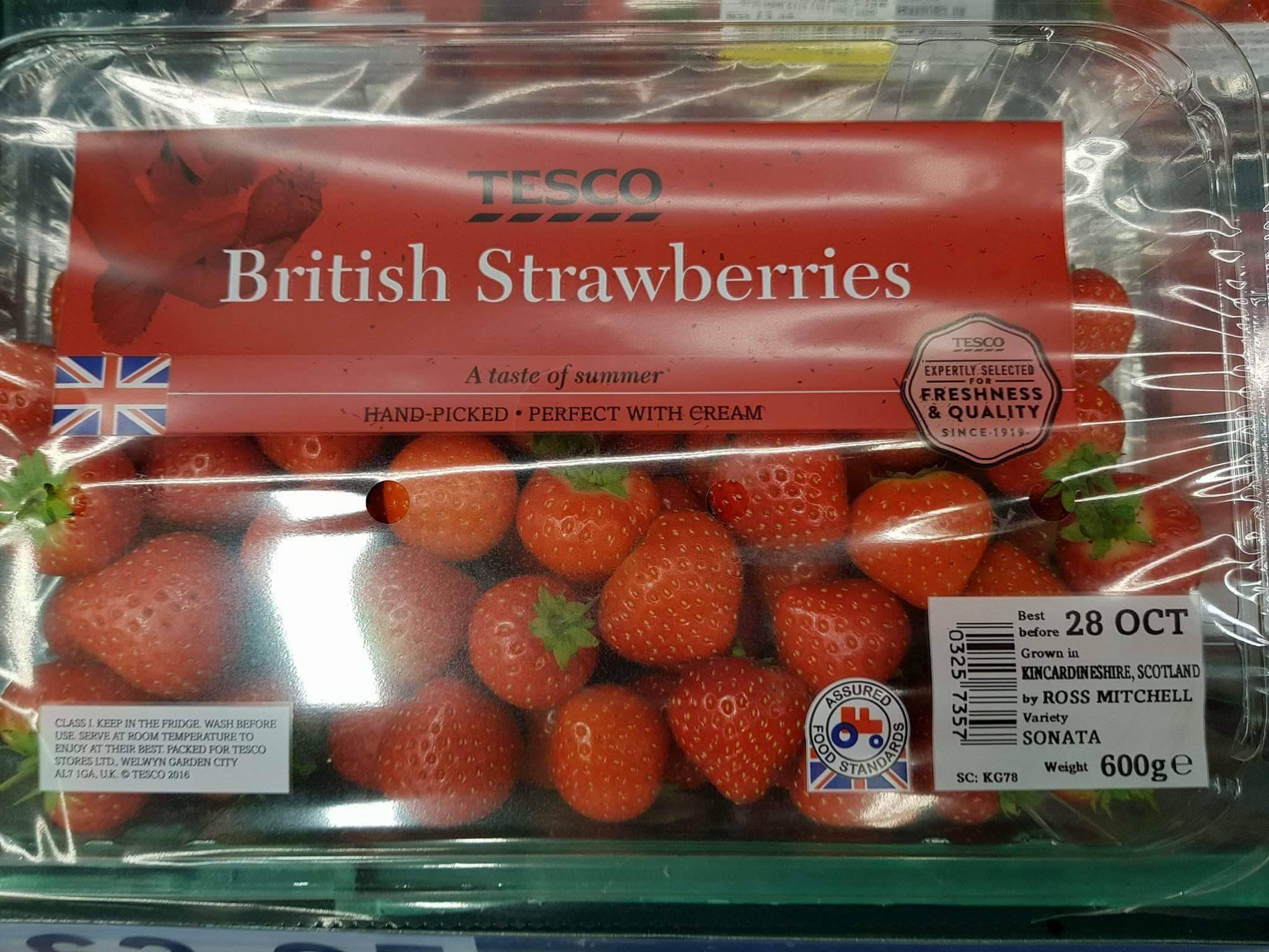 British Strawberries grown in Kincardinshire with a Union flag on the packaging in a Tesco
