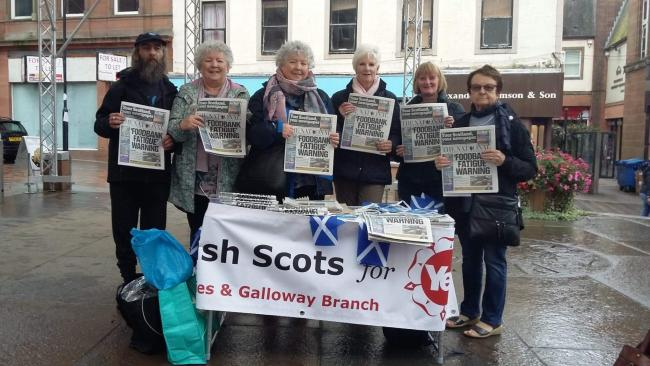 Members of English Scots for Yes' Dumfries and Galloway branch during The National's last free giveaway