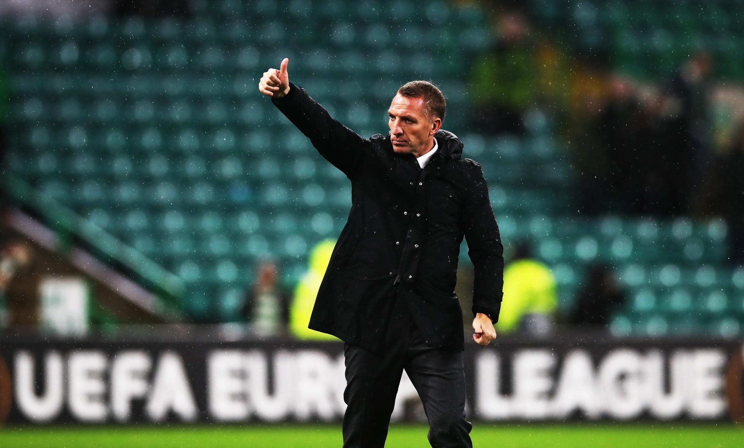 GLASGOW, SCOTLAND - NOVEMBER 08: Celtic manager Brendan Rodgers gestures during the UEFA Europa League Group B match between Celtic and RB Leipzig at Celtic Park on November 8, 2018 in Glasgow, United Kingdom. (Photo by Ian MacNicol/Getty Images).