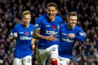 11/11/18 LABROKES PREMIERSHIP.RANGERS V MOTHERWELL.IBROX  - GLASGOW.James Tavernier celebrates after scoring to make it 3-1.