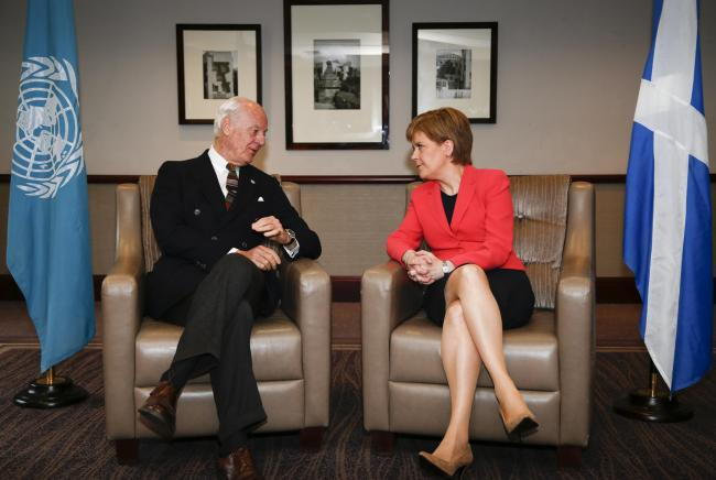 UN special envoy, Staffan de Mistura, with Nicola Sturgeon, has recognised Scotland's potential to resolve conflicts