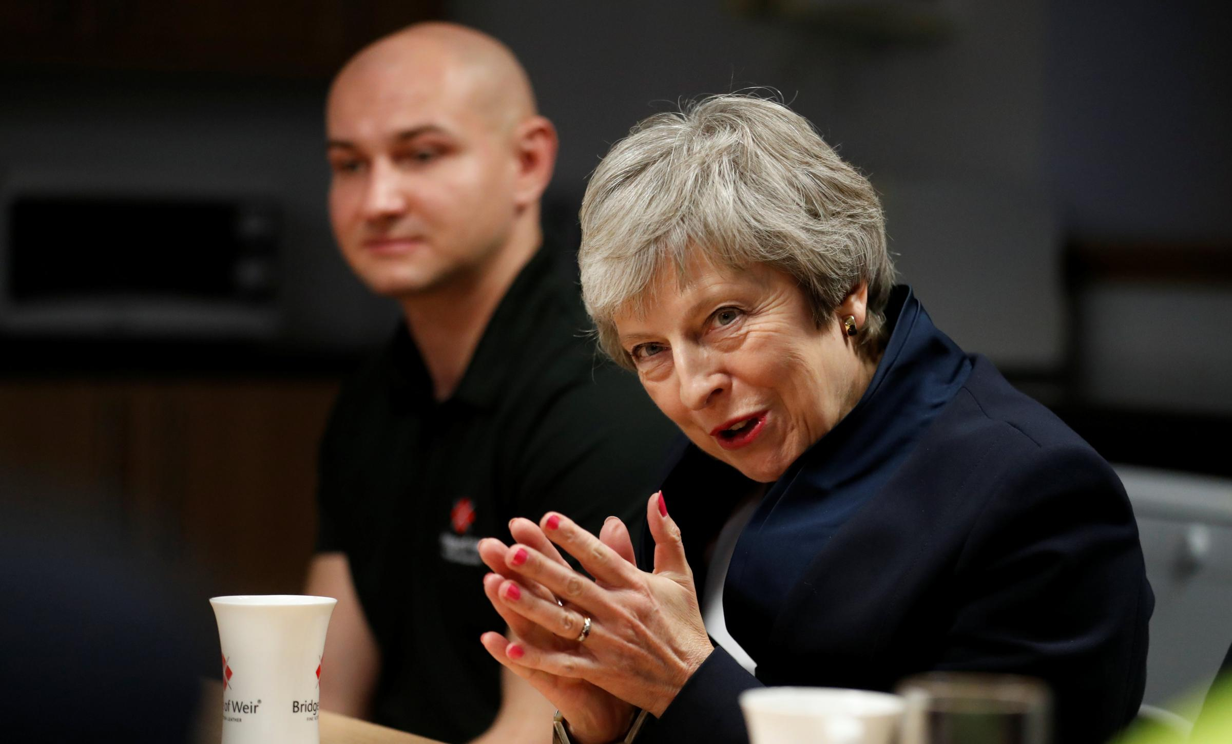 Theresa May starred in Brexit Consultation: The Movie this week, in a leather factory