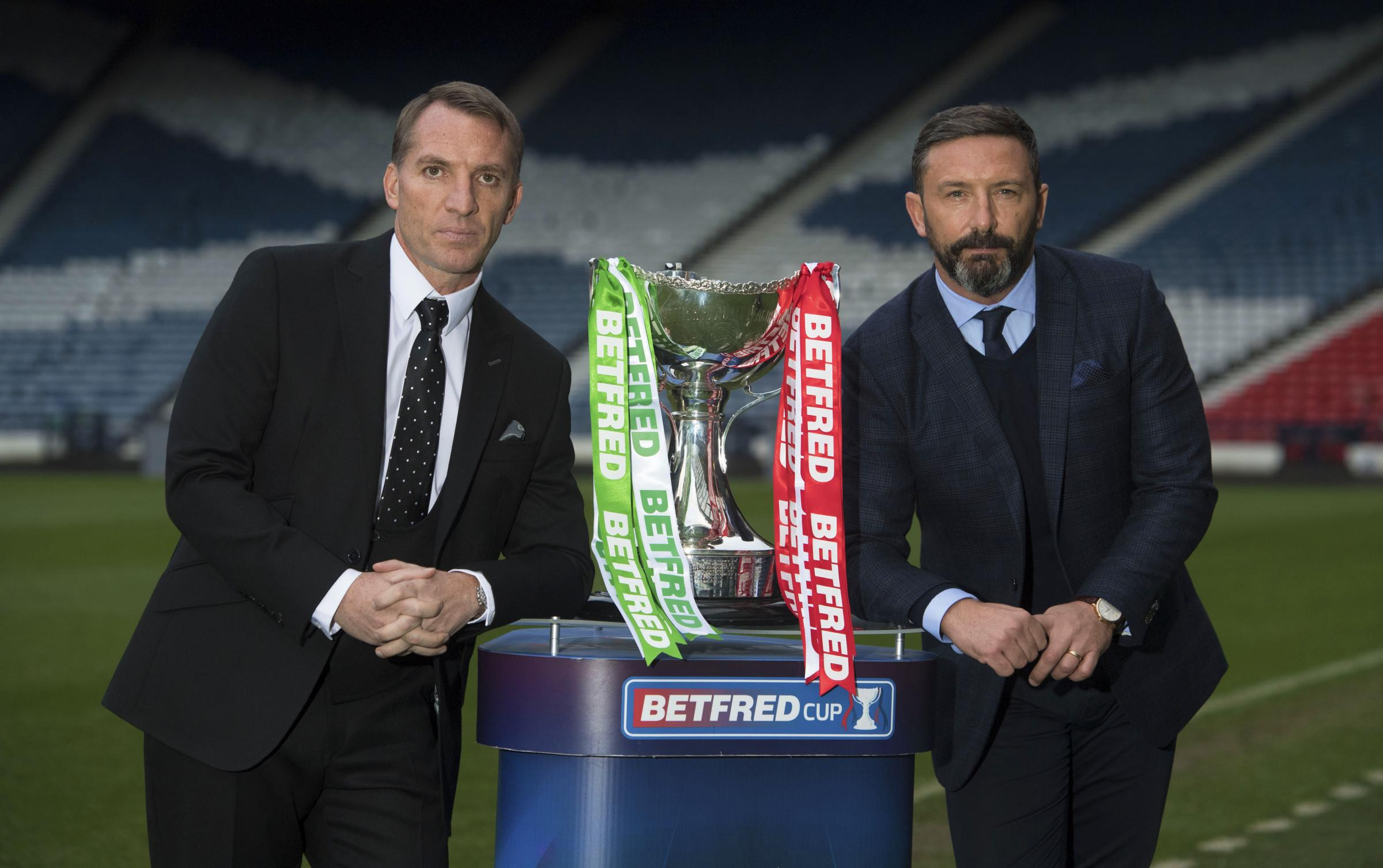 26/11/18.HAMPDEN PARK - GLASGOW.Celtic manager Brendan Rodgers (L) and Aberdeen manager Derek McInnes preview the Betfred Cup final this weekend..