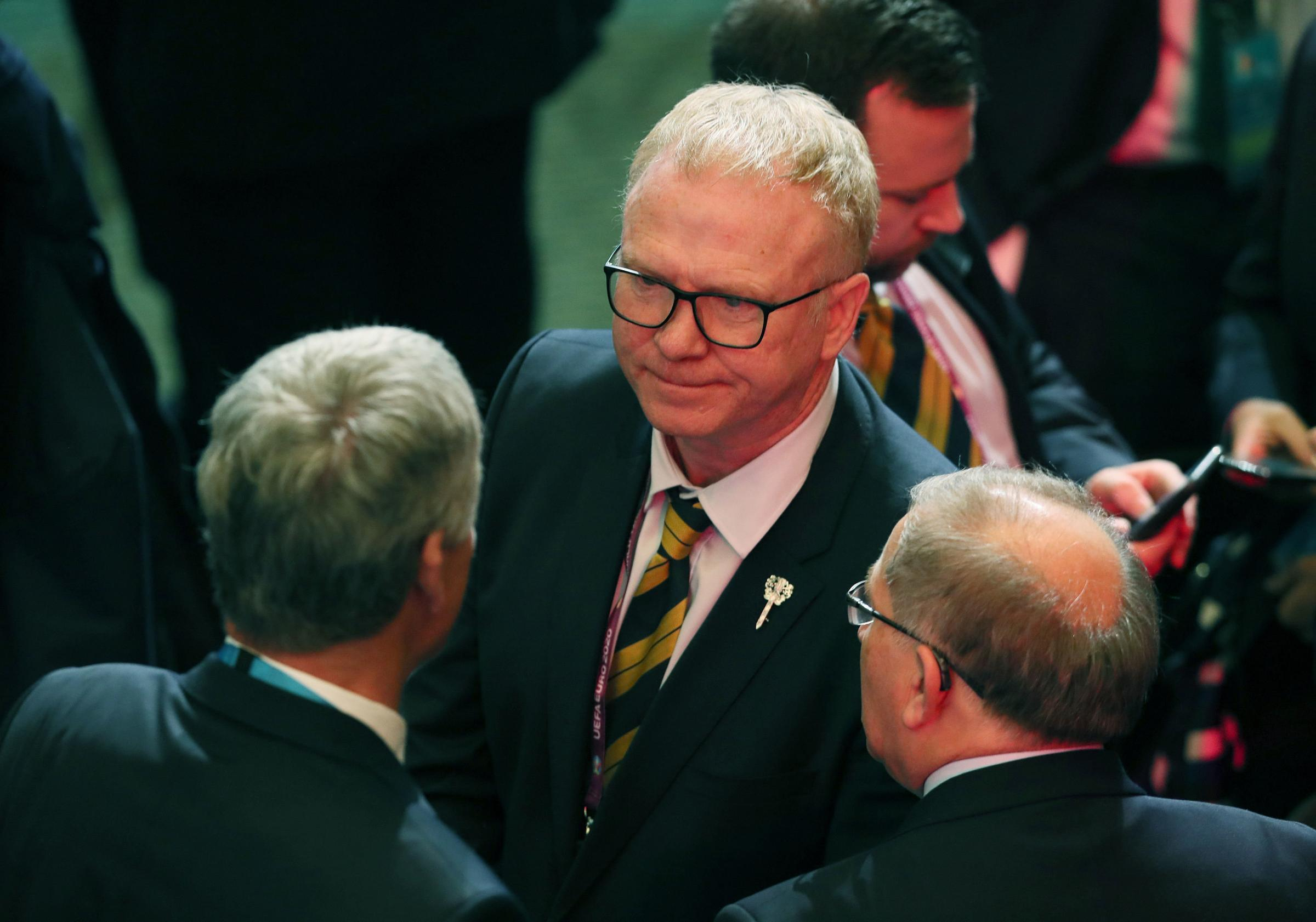 Scotland manager Alex McLeish (centre) following the Euro 2020 European qualifier draw at the Convention Centre, Dublin. PRESS ASSOCIATION Photo. Picture date: Sunday December 2, 2018. Photo credit should read: Brian Lawless/PA Wire.