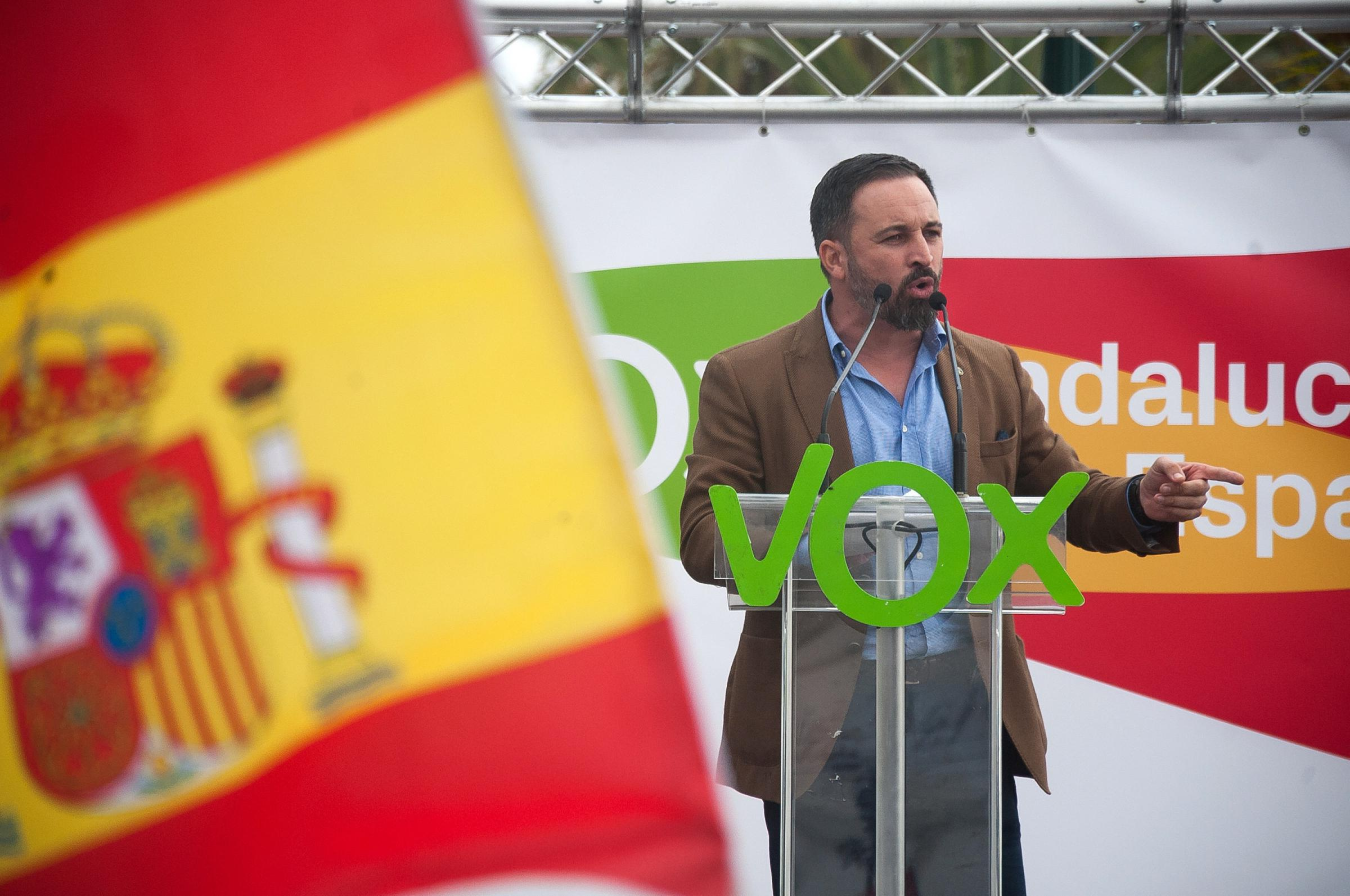 Spanish far-right Vox Party leader Santiago Abascal during the campaign of the regional elections
