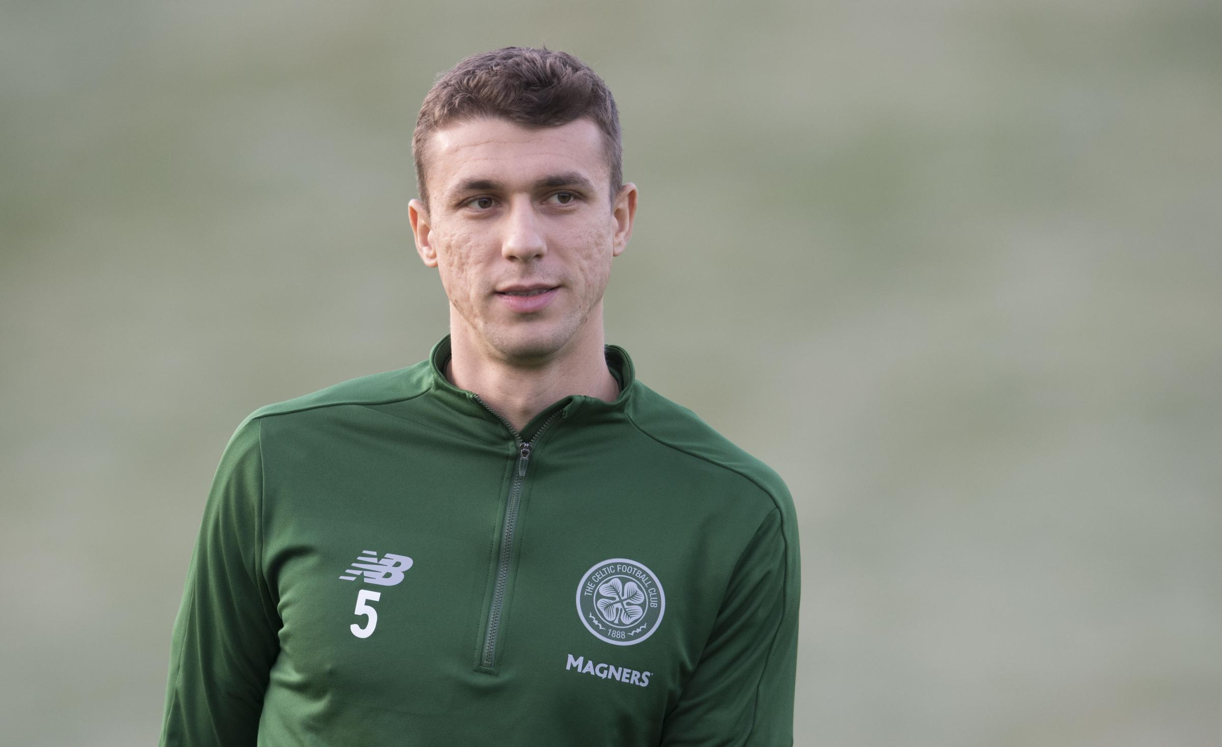 04/12/18.CELTIC TRAINING.LENNOXTOWN.Celtic's Jozo Simunovic.