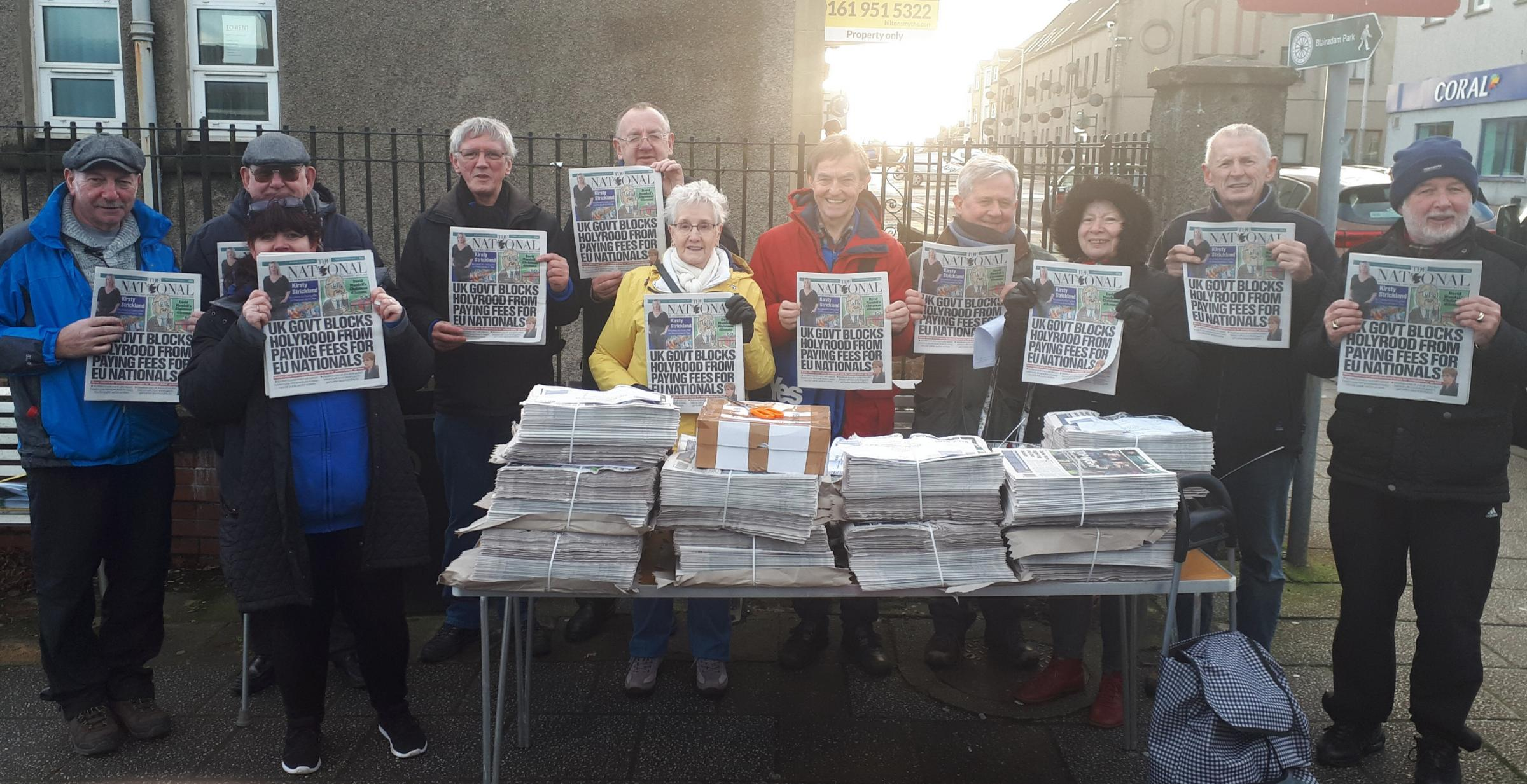 The National and vouchers for the Sunday National were distributed in Kelty, Cowdenbeath and Kinross