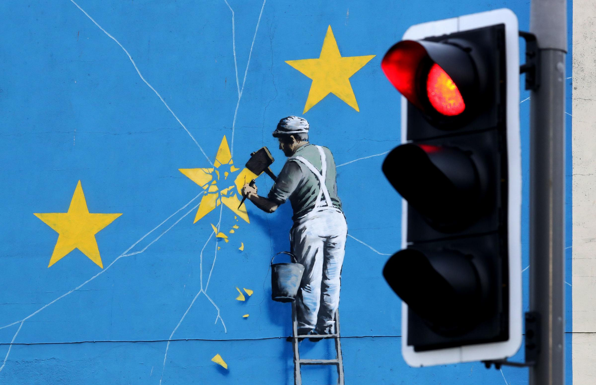 This Banksy mural appeared amidst the Brexit uncertainty